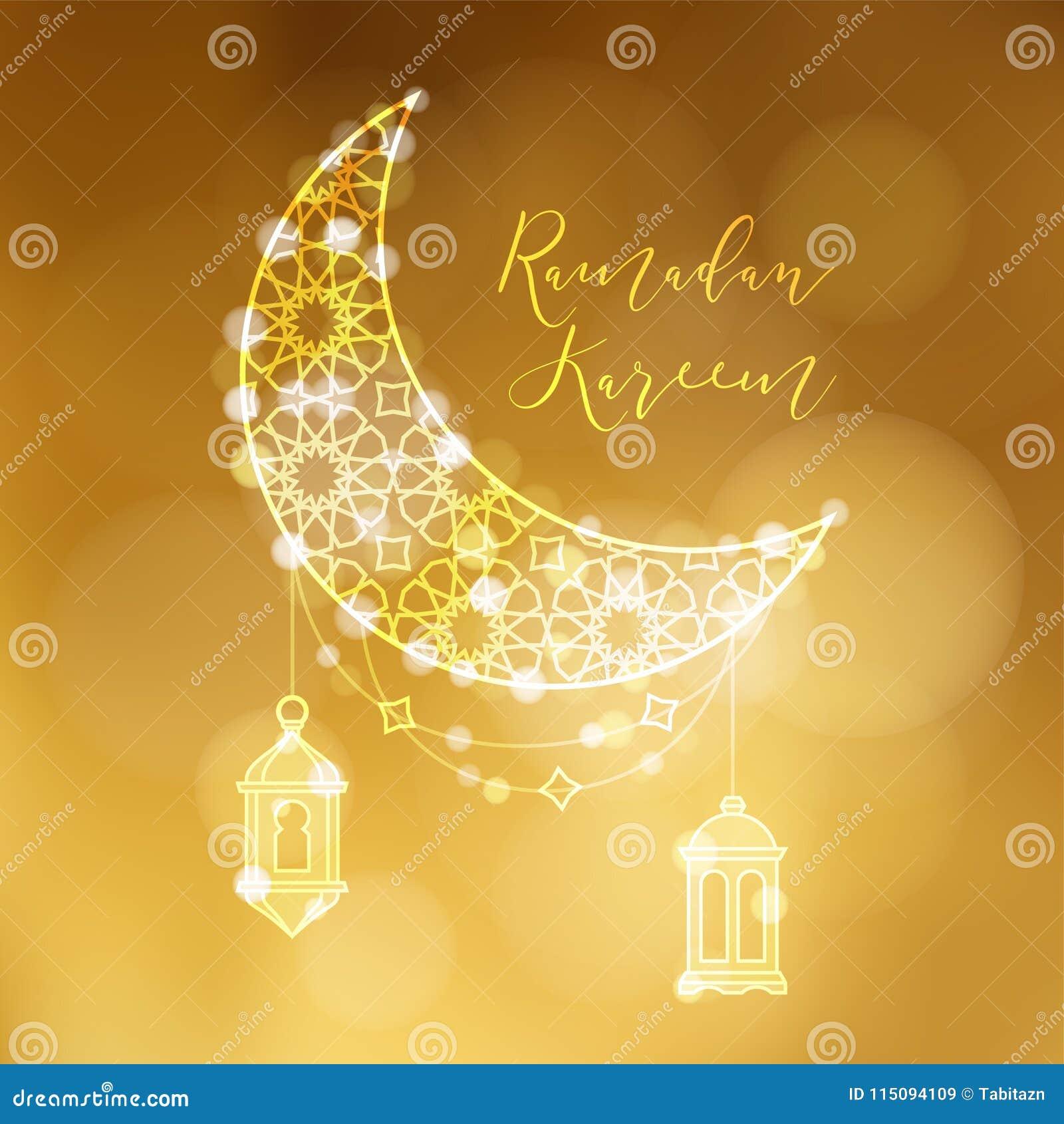 Guld- dekorativ måne med arabiska lyktor och bokehljus Festlig garnering, vektorillustrationbakgrund hälsning