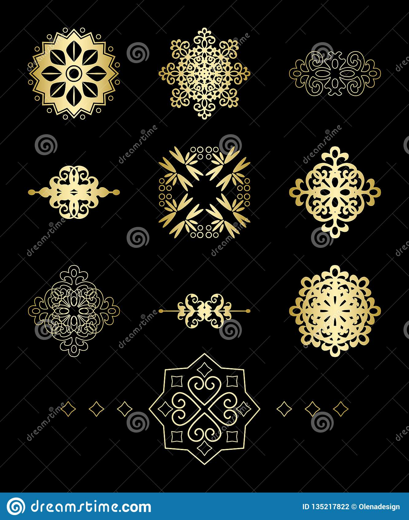 Guld- dekorativa geometriska vektorbeståndsdelar
