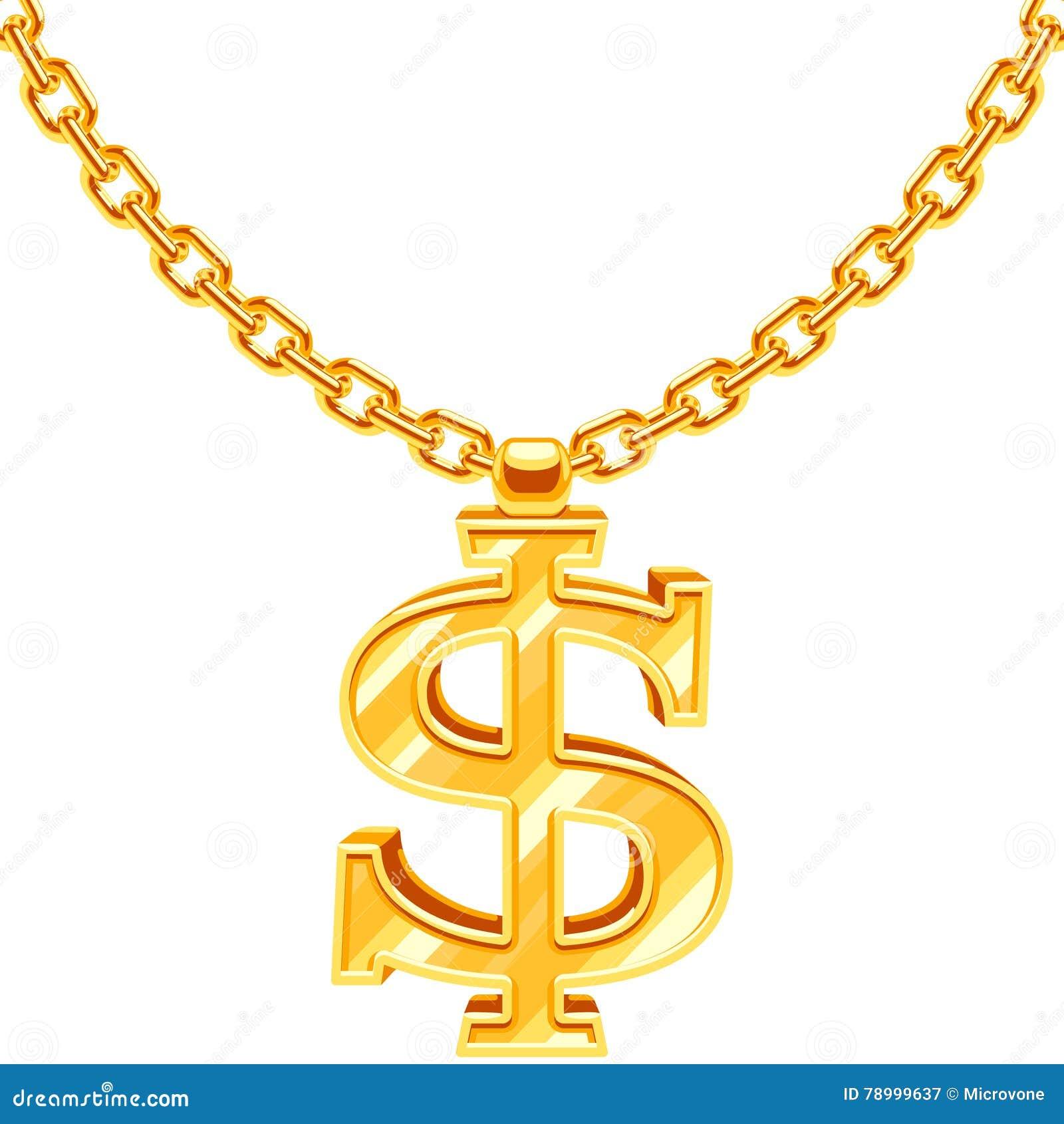 Guld- dollarsymbol på för vektorhöft för guld- kedja halsbandet för stil för rap för flygtur