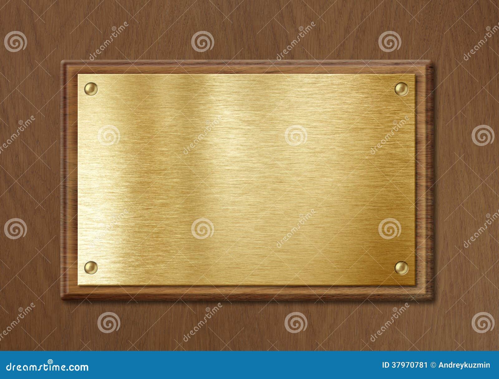 Guld- eller mässingsplatta för nameboard- eller diplombakgrundsram