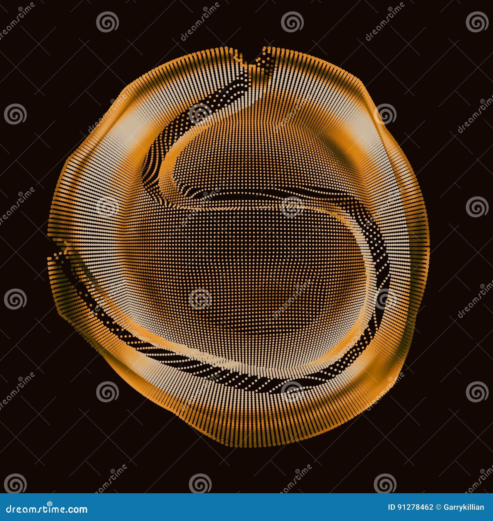 Guld- färgrik ingreppssfär för abstrakt vektor på mörk bakgrund Futuristiskt stilkort