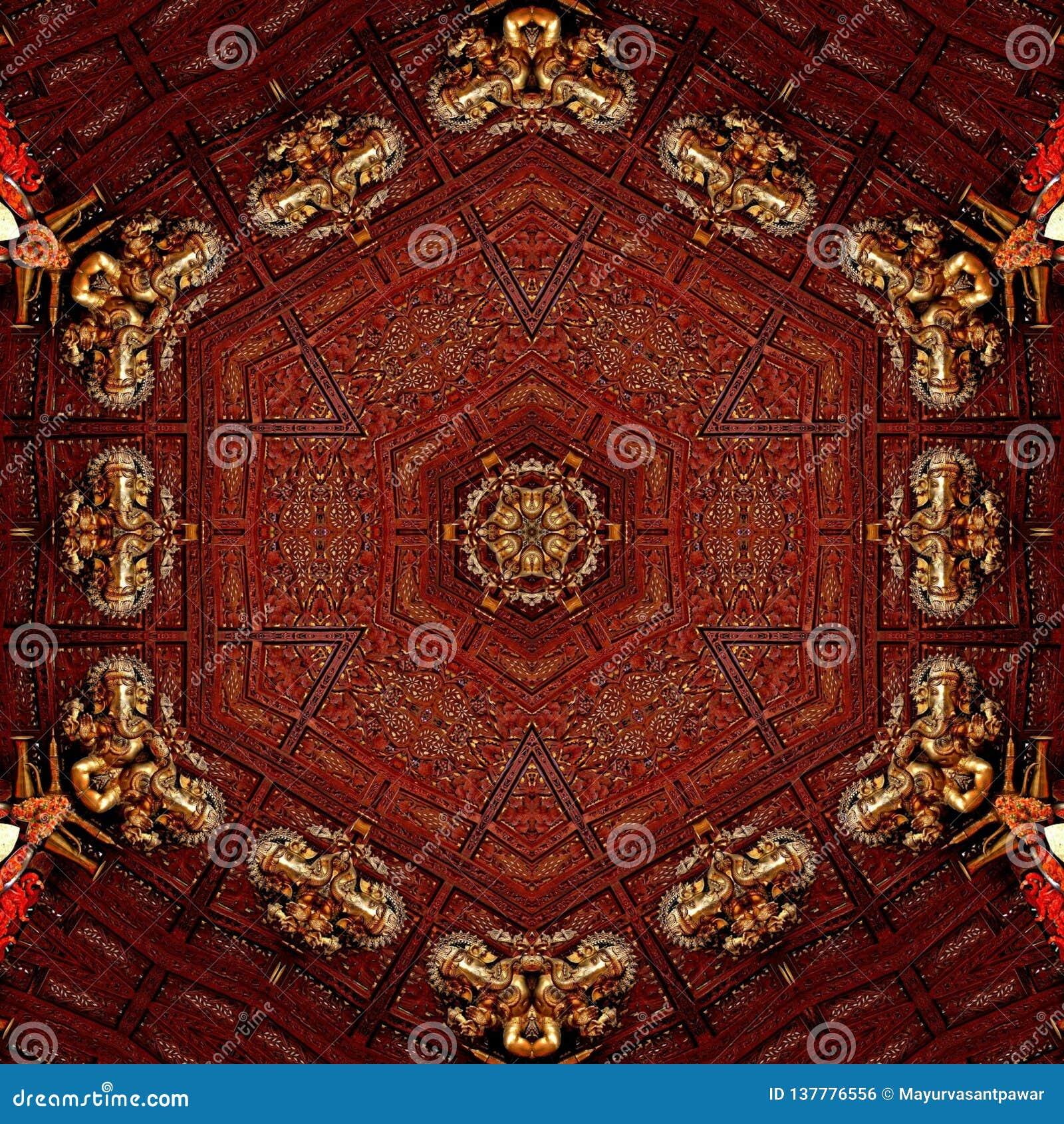 Guld- förebild för abstrakt ganpati för mandaladesignmall