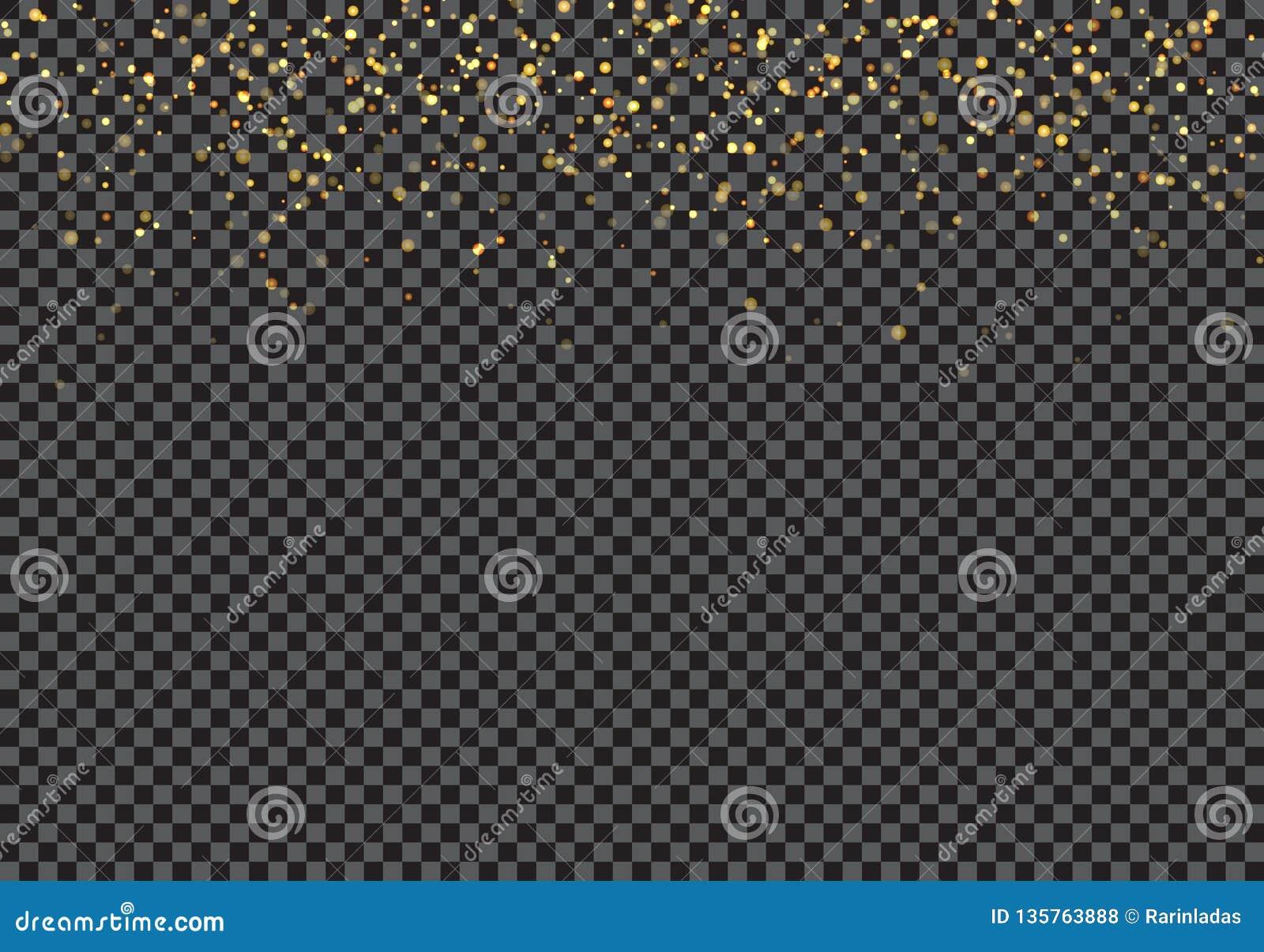 Guld- falla blänker partikeleffekt på genomskinlig bakgrund