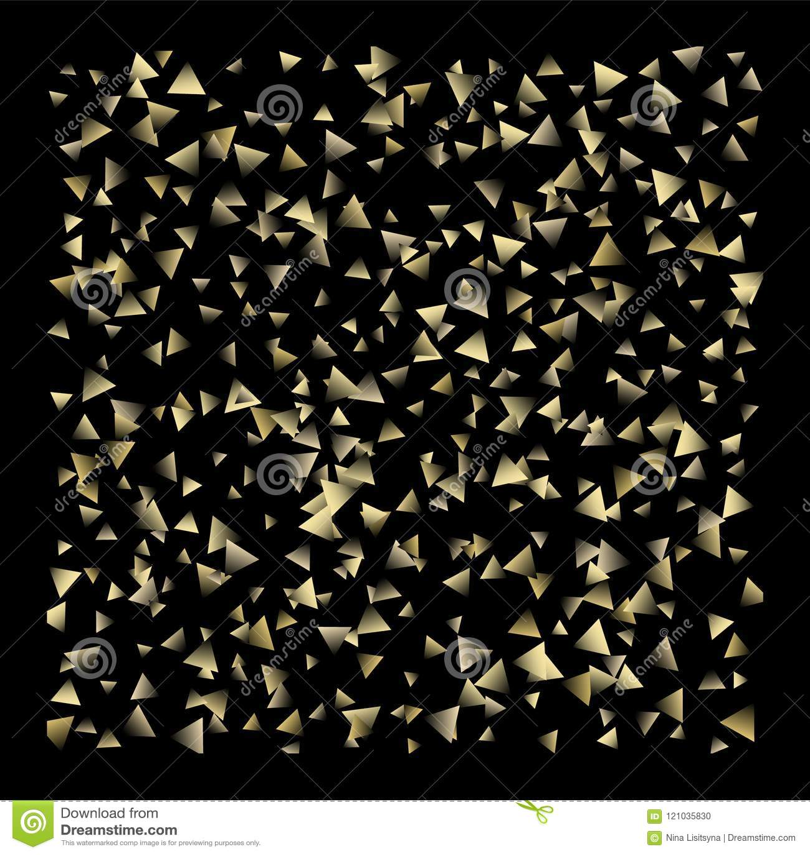 Guld- fallande konfettitrianglar