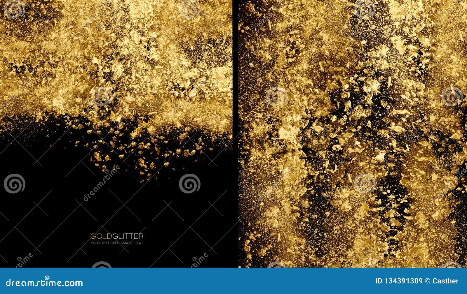 Guld- flingabakgrundsbegrepp Spridd guld blänker pulver på svart