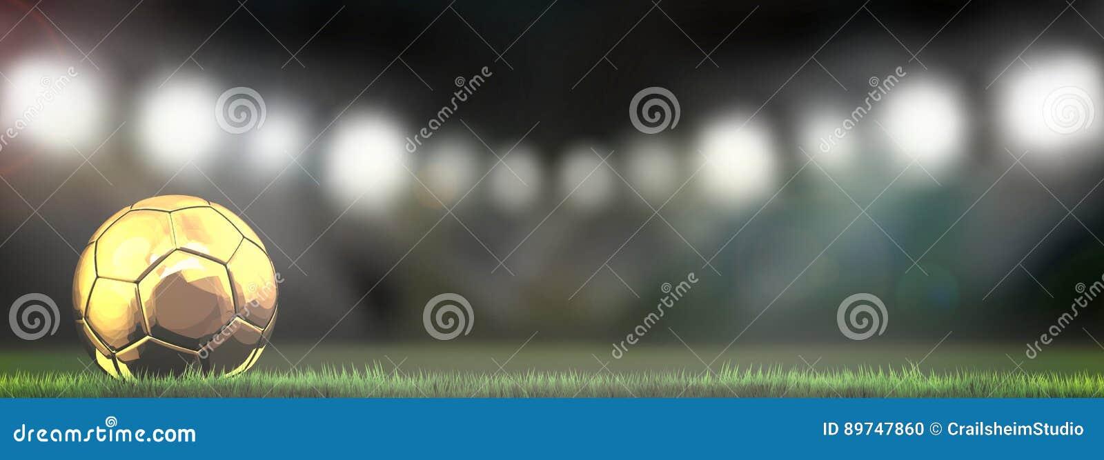 Guld- fotbollfotbollboll i stadion 3d