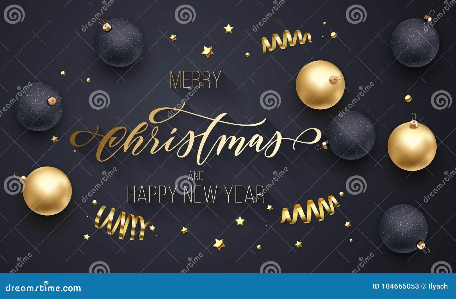 Guld- garnering för glad jul och för lyckligt nytt år, hand dragen guld- kalligrafistilsort för bakgrund för svart för hälsningko
