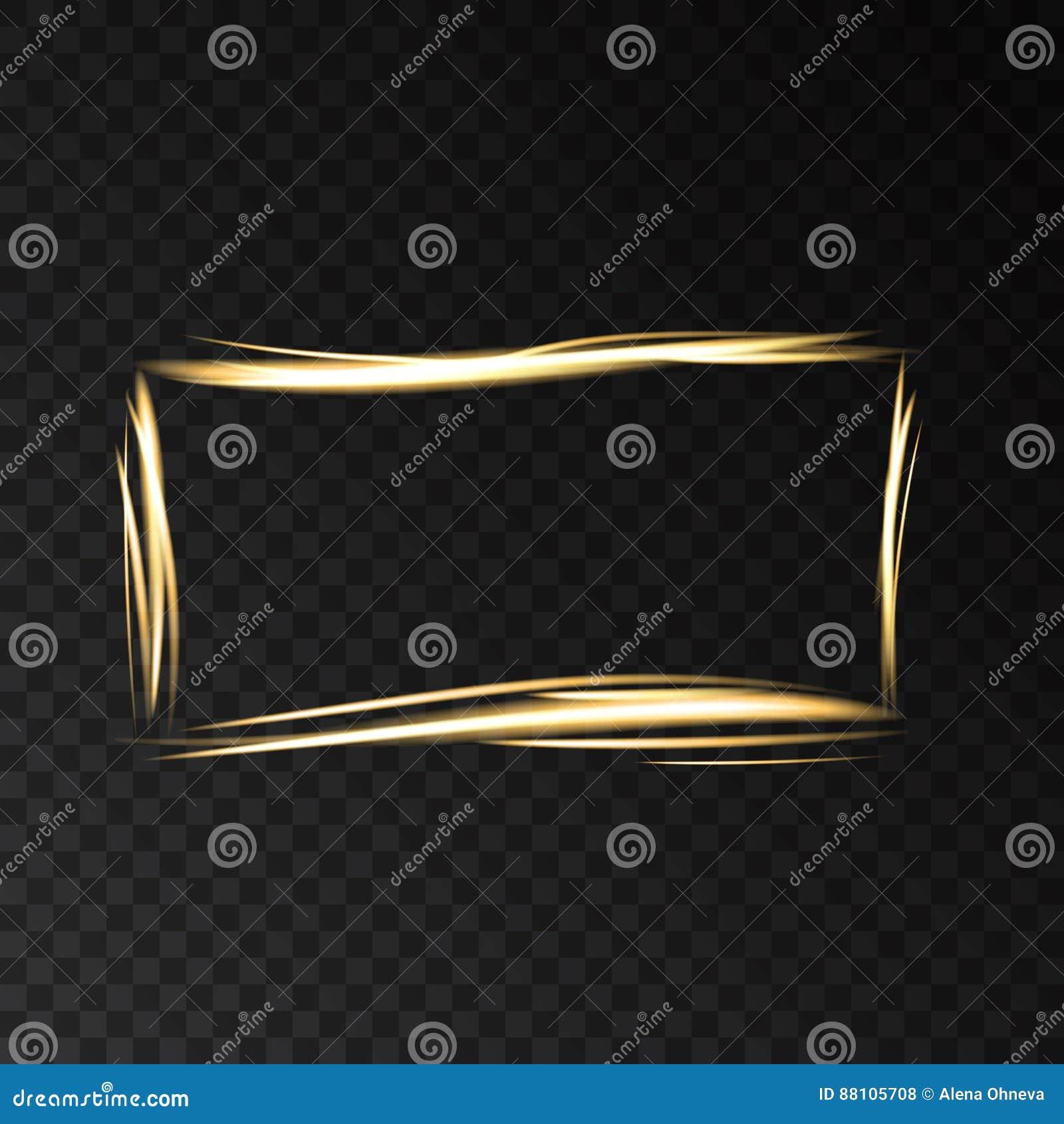 Guld- glödande fyrkantig ram med ljuseffekter