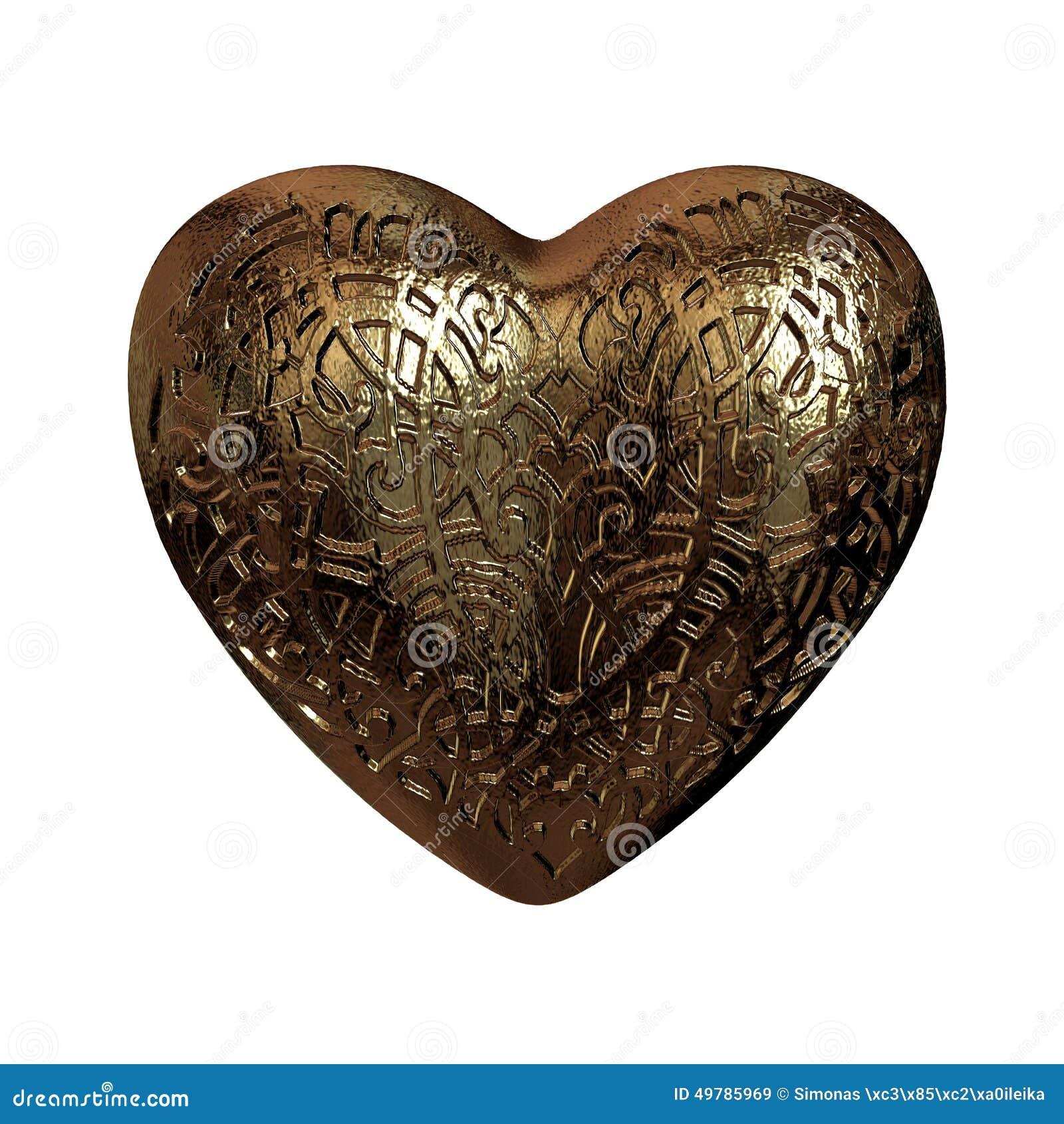 Guld- glansiga valentin för prydnad 3D hjärta