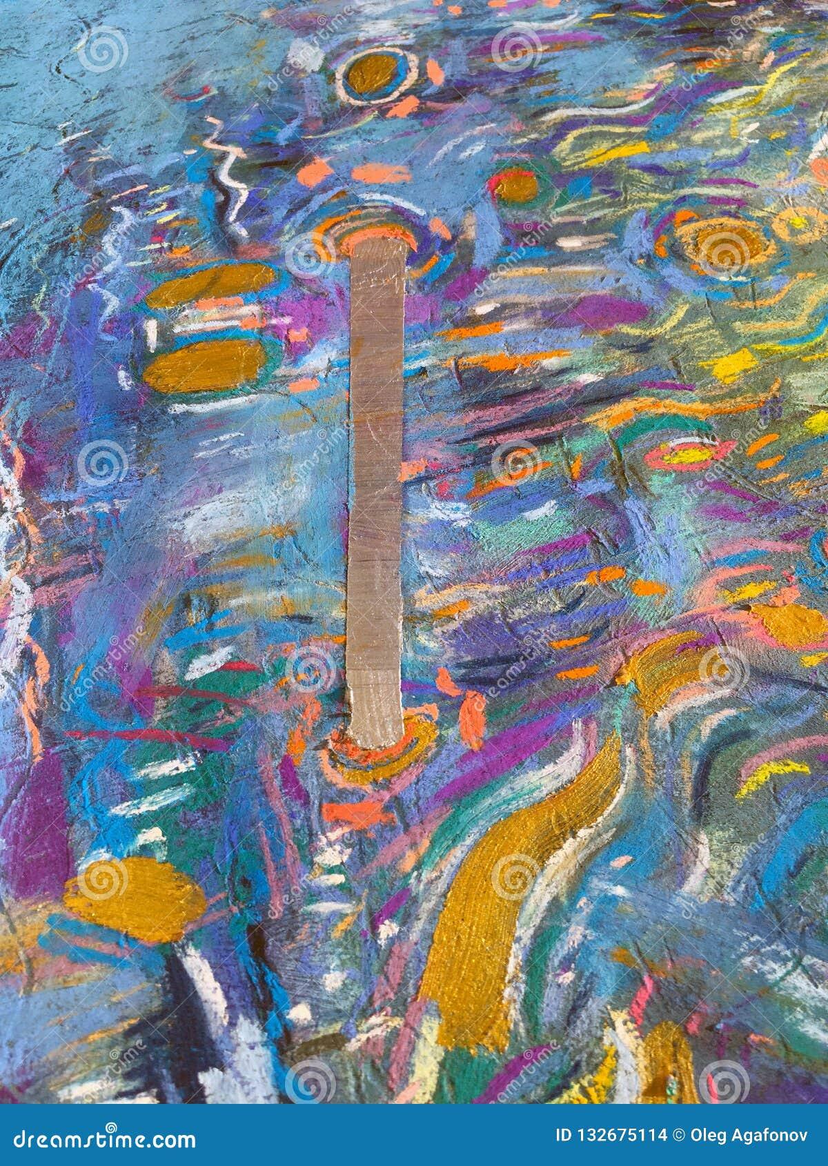 Guld- himmelbakgrund för expressionism Moderiktig måla textur