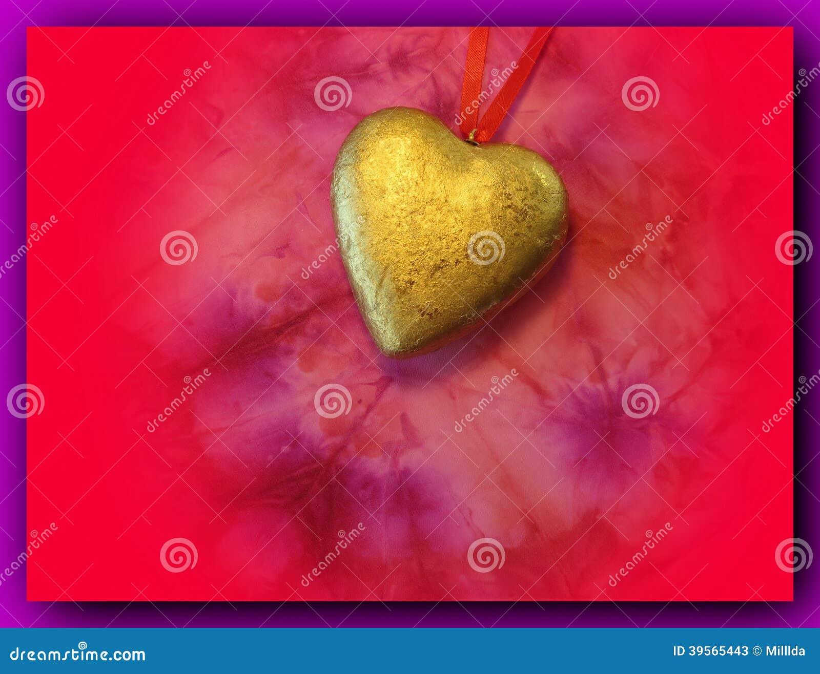 Guld- hjärta med det röda bandet