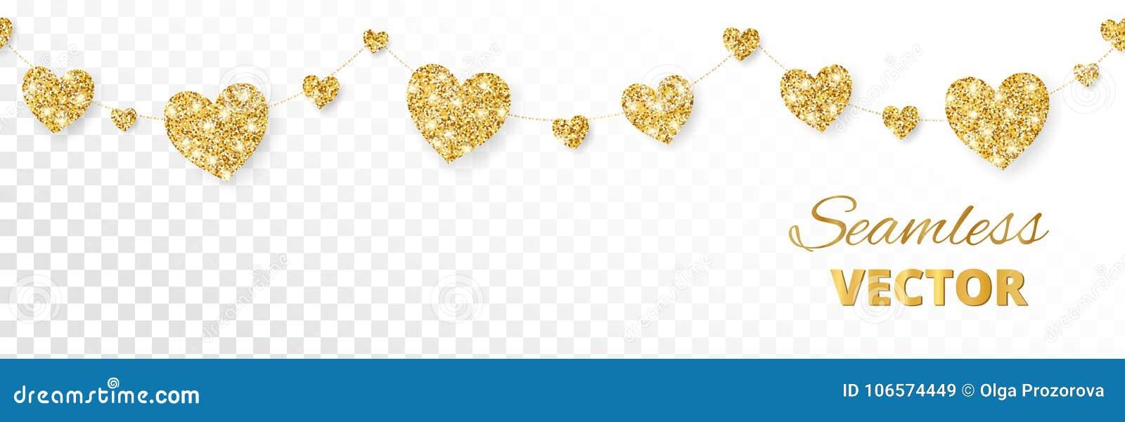 Guld- hjärtaram, sömlös gräns Vektorn blänker på vit bakgrund