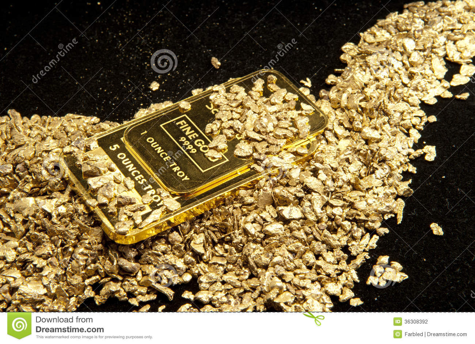 Guld i mynt, klumpar och tackor