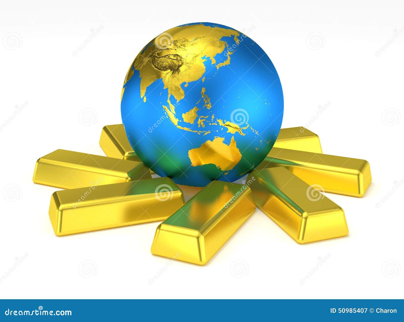 Guld- jordplanet på guld- stänger