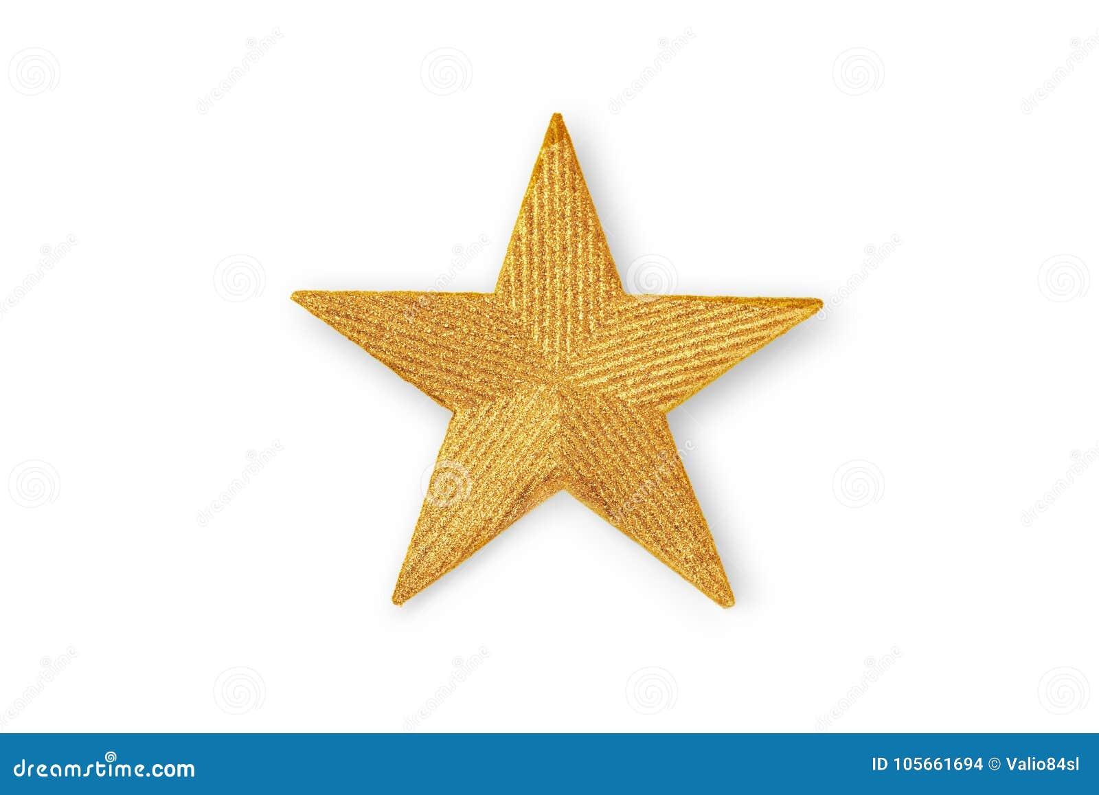 Guld- jul stjärna, julprydnad som isoleras på vit