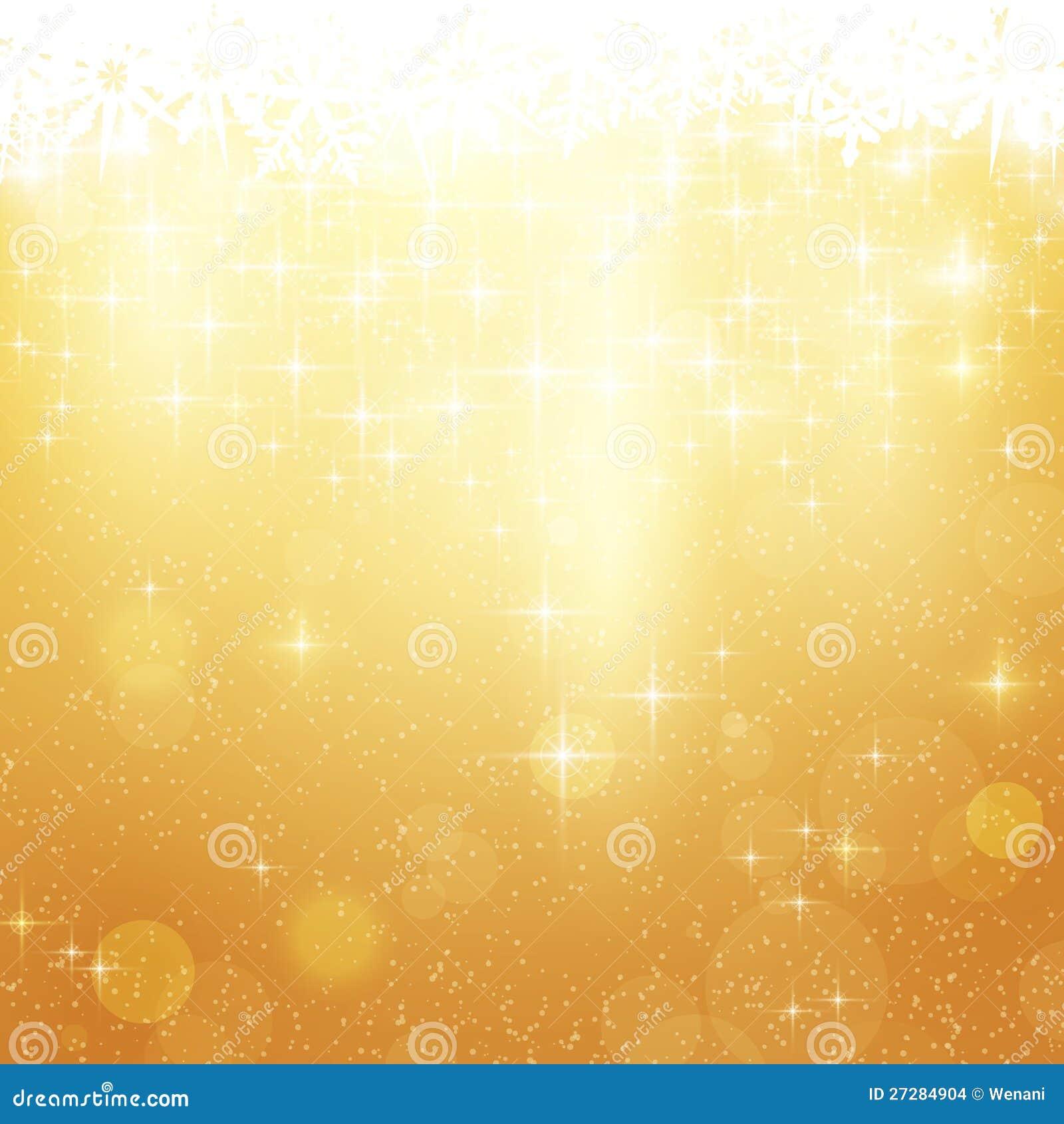 Guld- julbakgrund med stjärnor och lampor