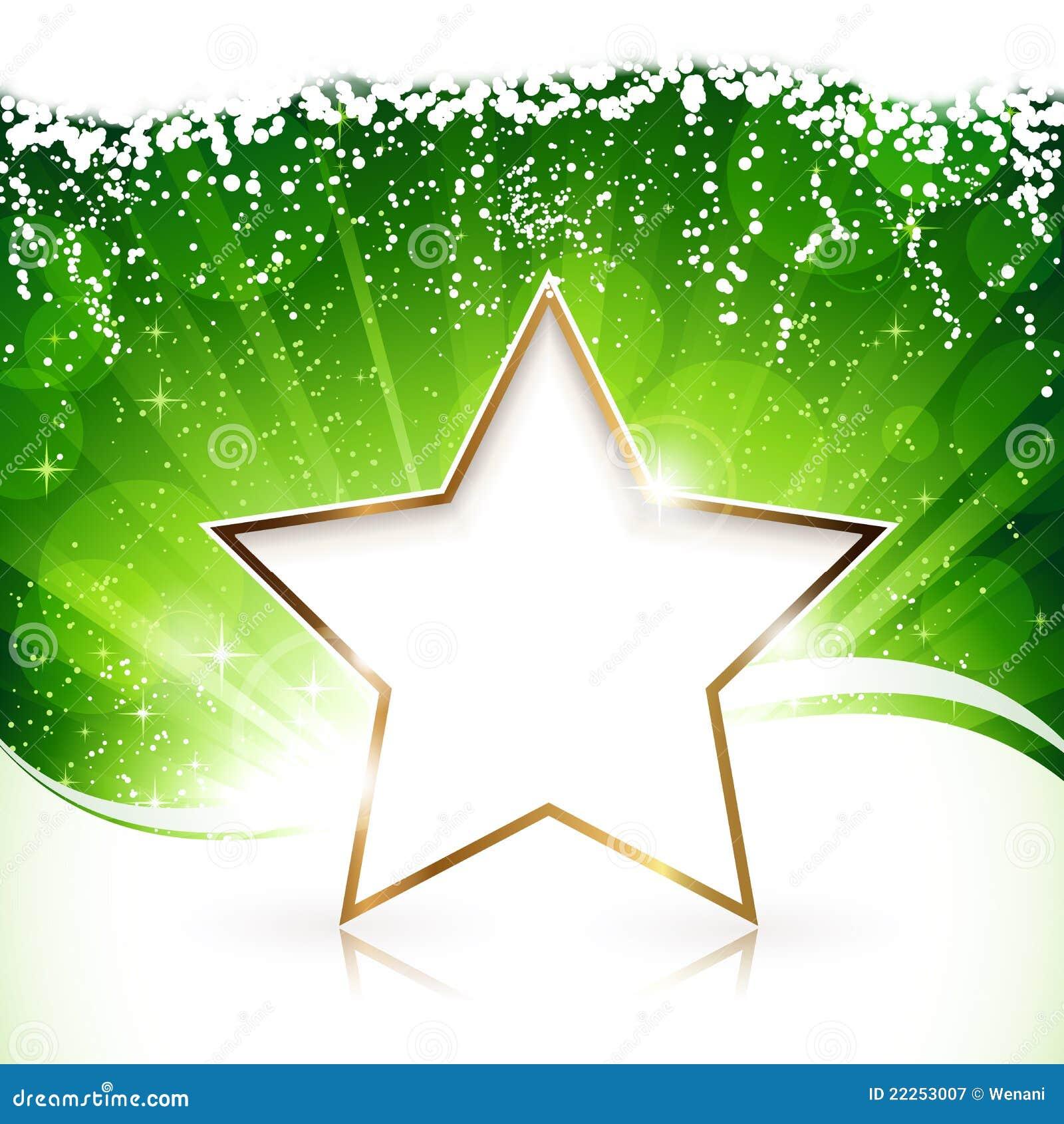Guld- julstjärna på grön bakgrund