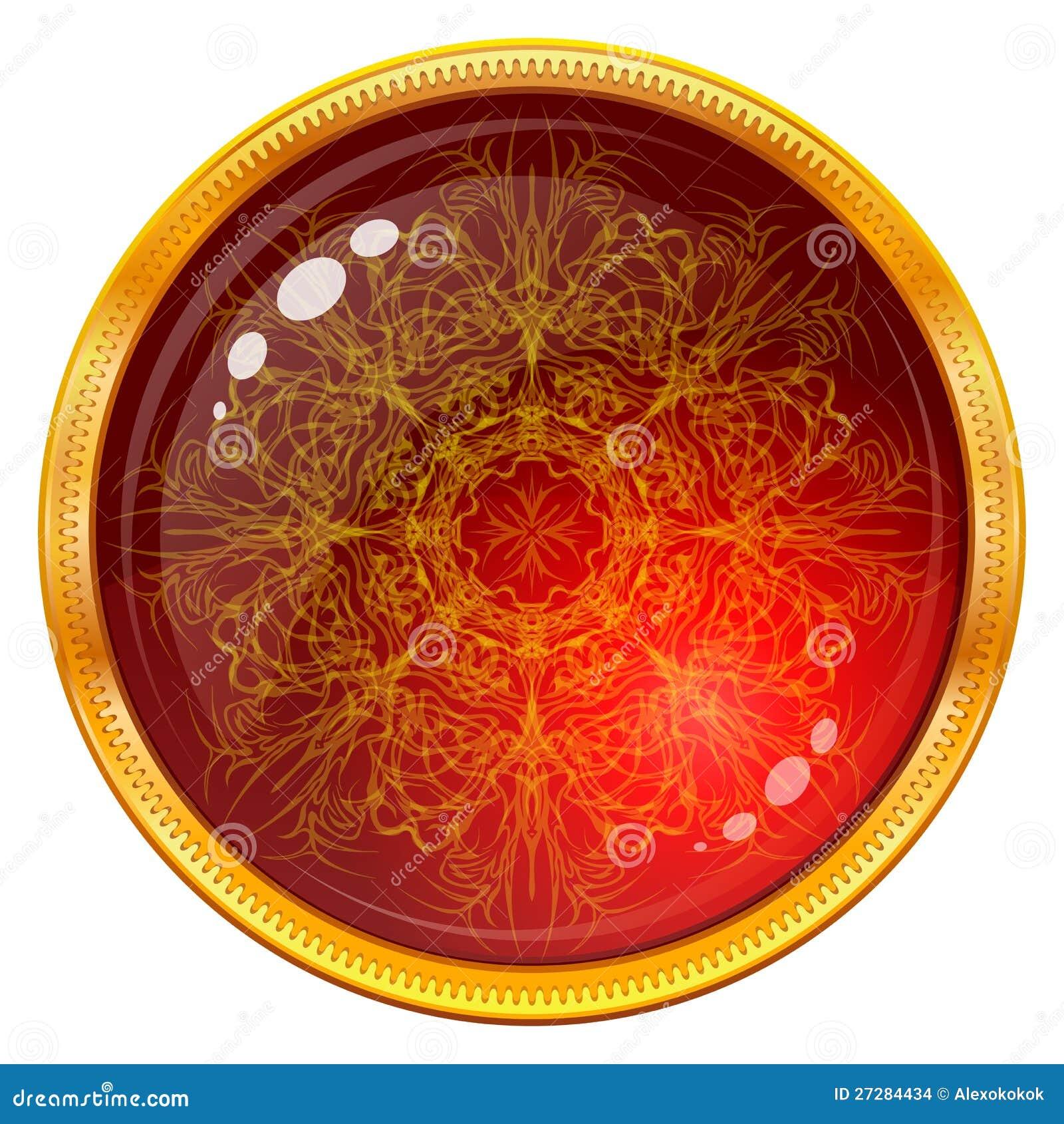 Guld- knapp med den mönstrade röda gemen