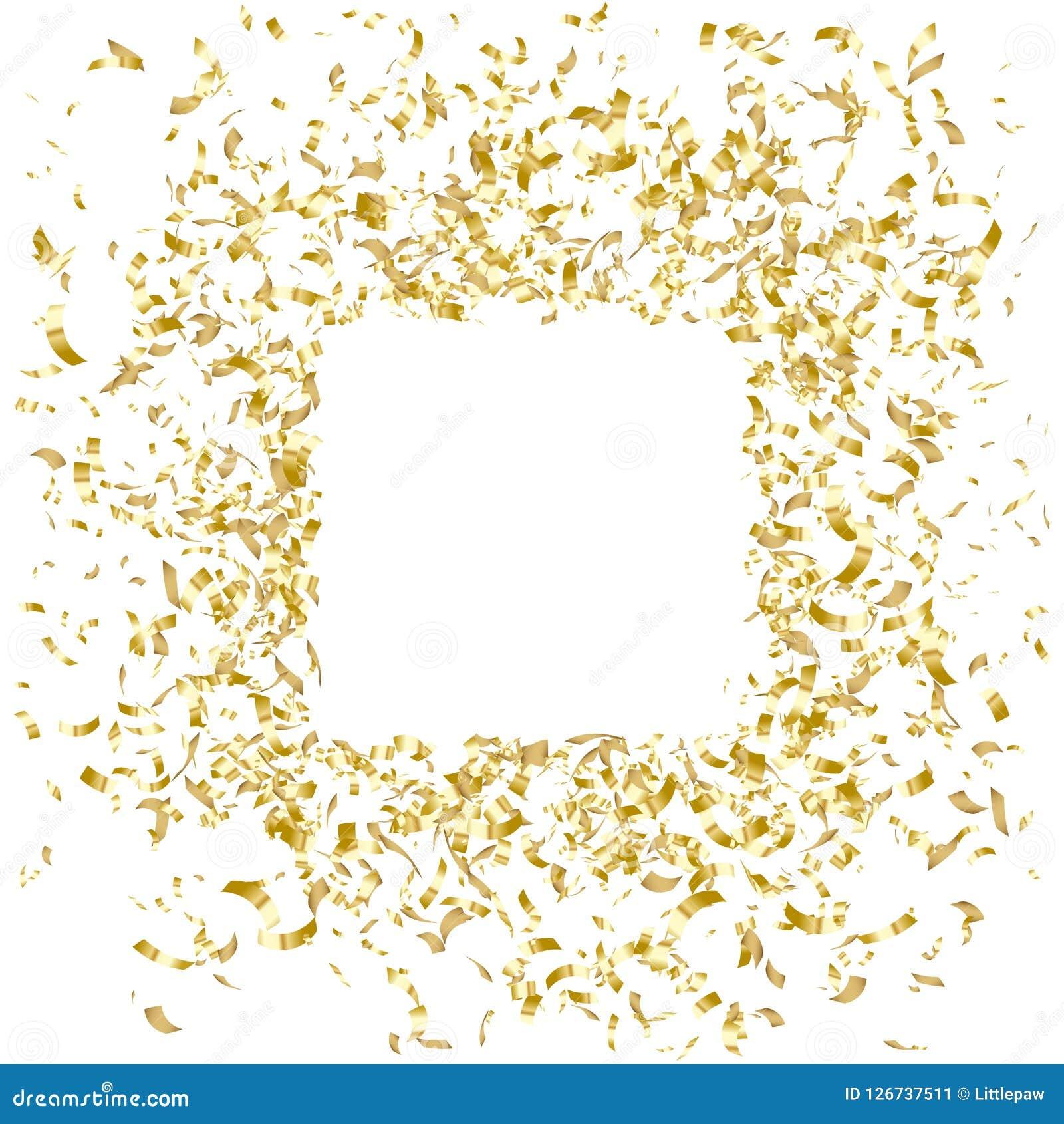 Guld- konfettiramdesign, feriebaner, vektorillustration