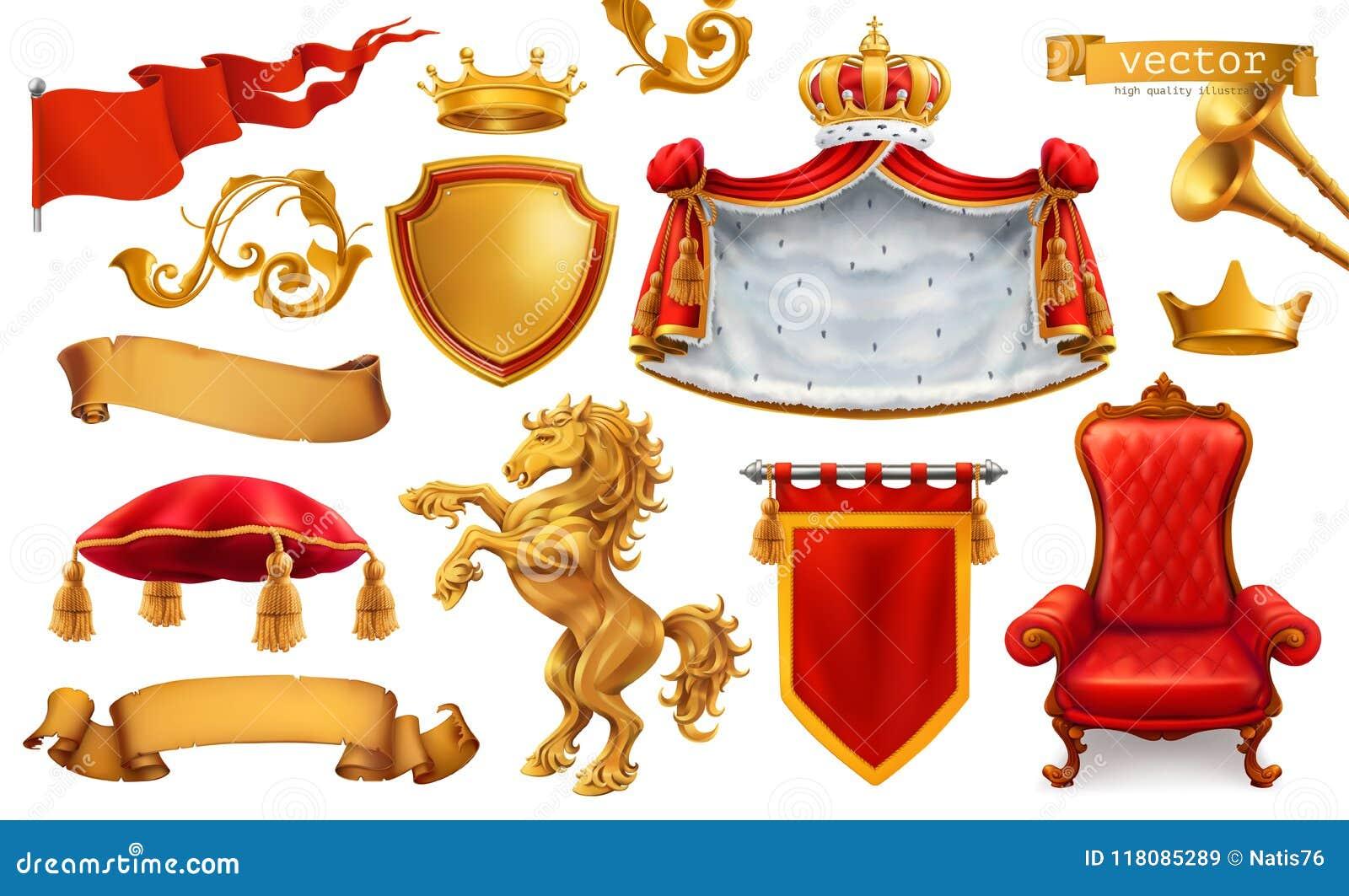 Guld- krona av konungen Kunglig stol, ansvar och kudde symboler för pappfärgsymbol ställde in vektorn för etiketter tre