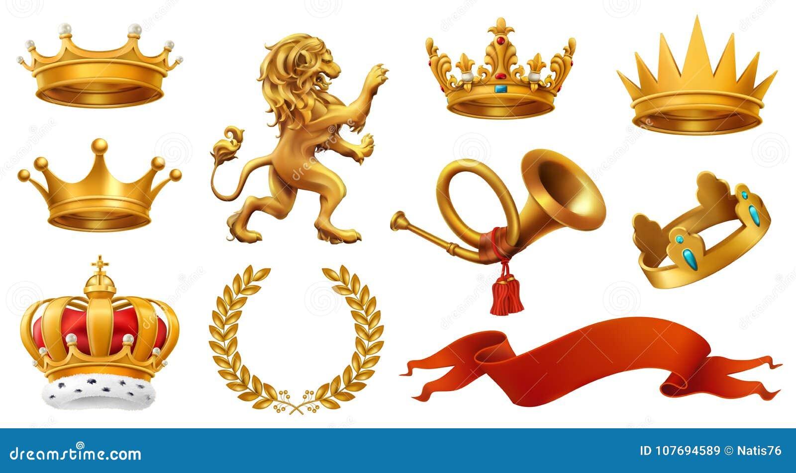 Guld- krona av konungen Lagerkrans, trumpet, lejon, band symboler för pappfärgsymbol ställde in vektorn för etiketter tre