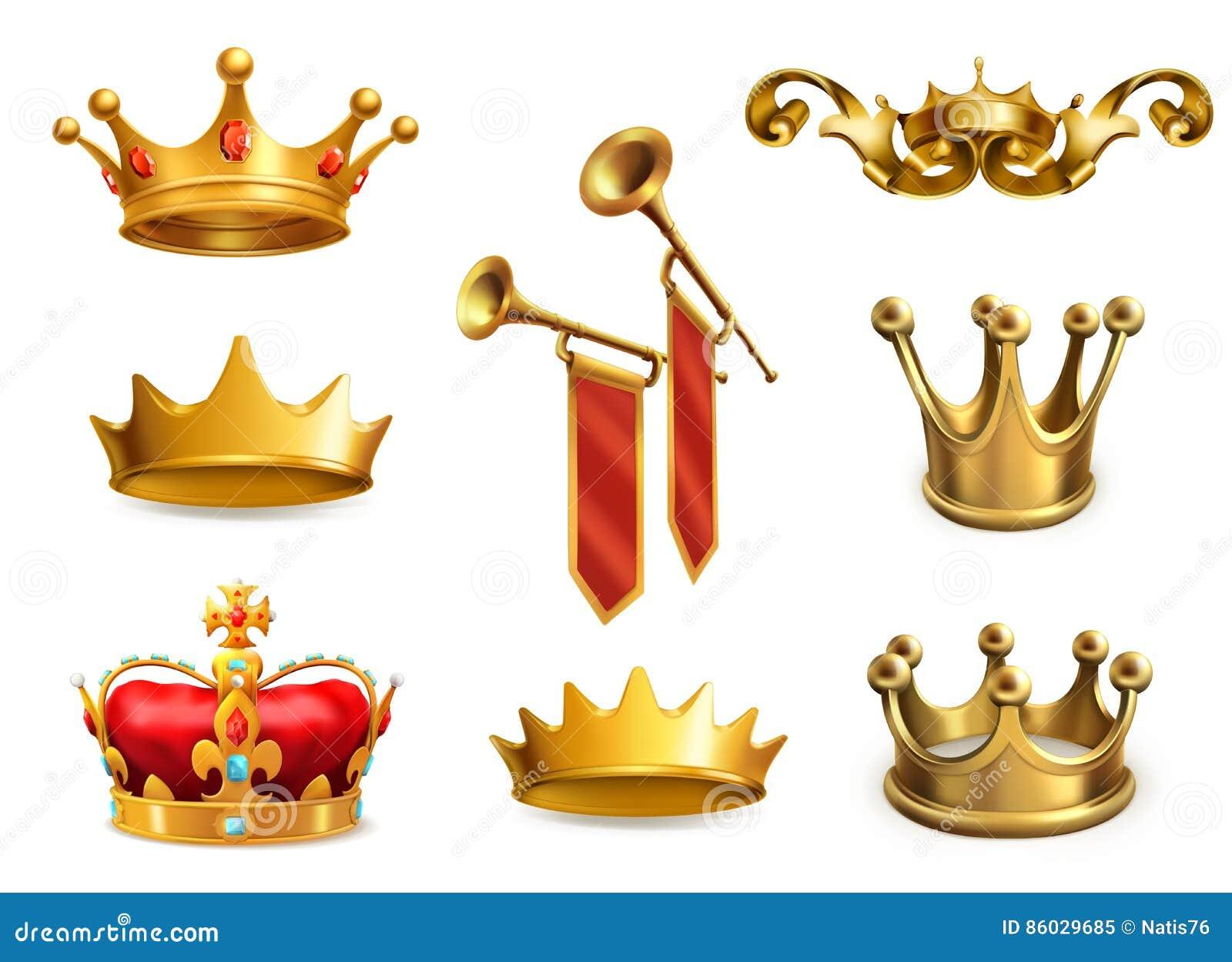 Guld- krona av konungen symboler för pappfärgsymbol ställde in vektorn för etiketter tre