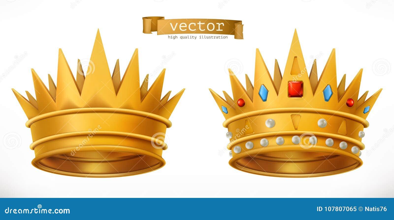 Guld- krona, konung vektor för symbol 3d