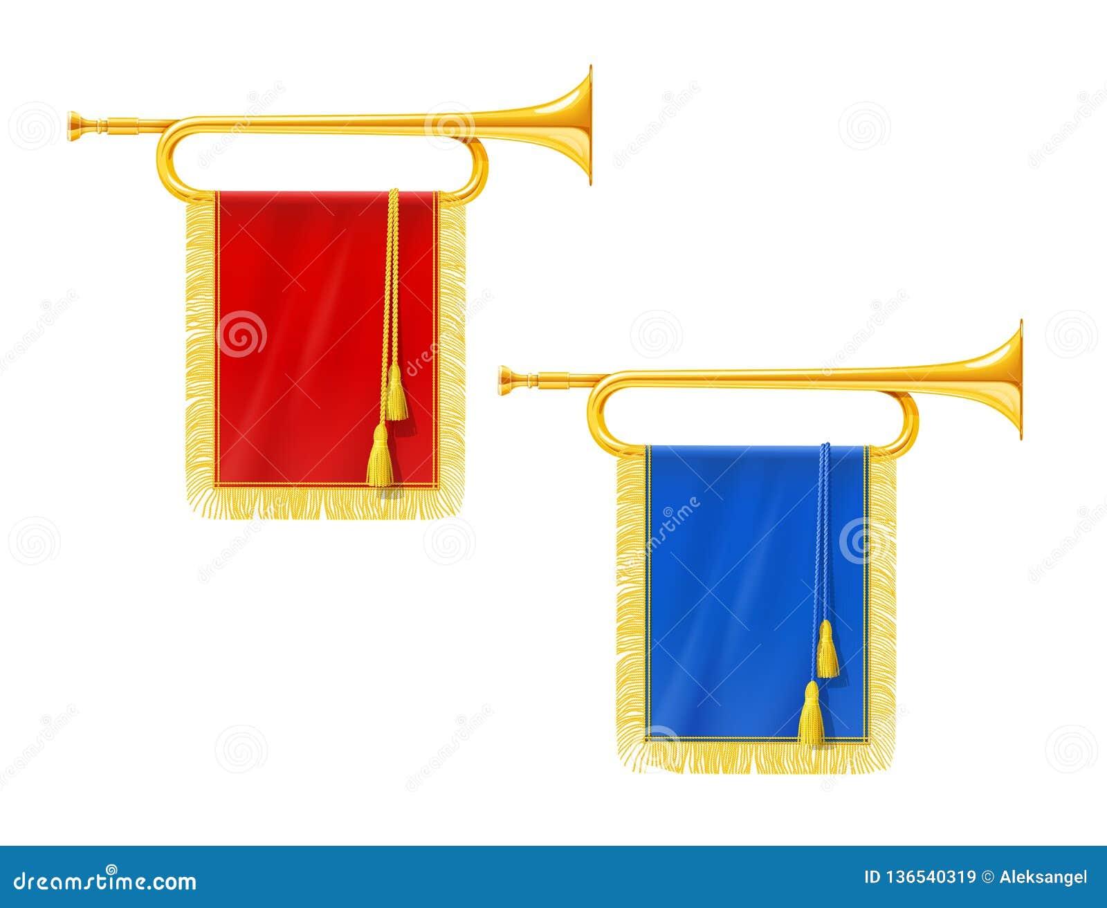 Guld- kunglig horn- trumpet med det blåa och röda banret Musikinstrument för konungorkester