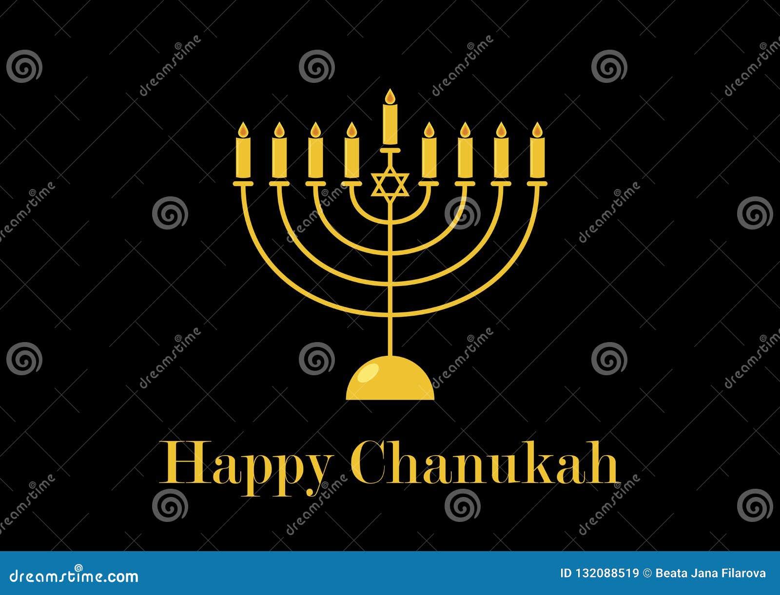Guld- ljusstakevektor för lycklig Chanukkah