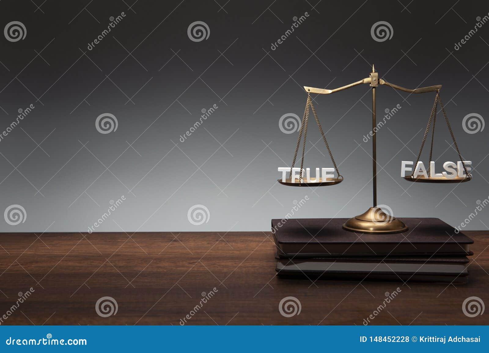 Guld- m?ssingsj?mviktsskalast?lle p? anteckningsb?cker och den tr?gr? bakgrunden f?r skrivbord och med RIKTIGT FALSKT f?r tr?text