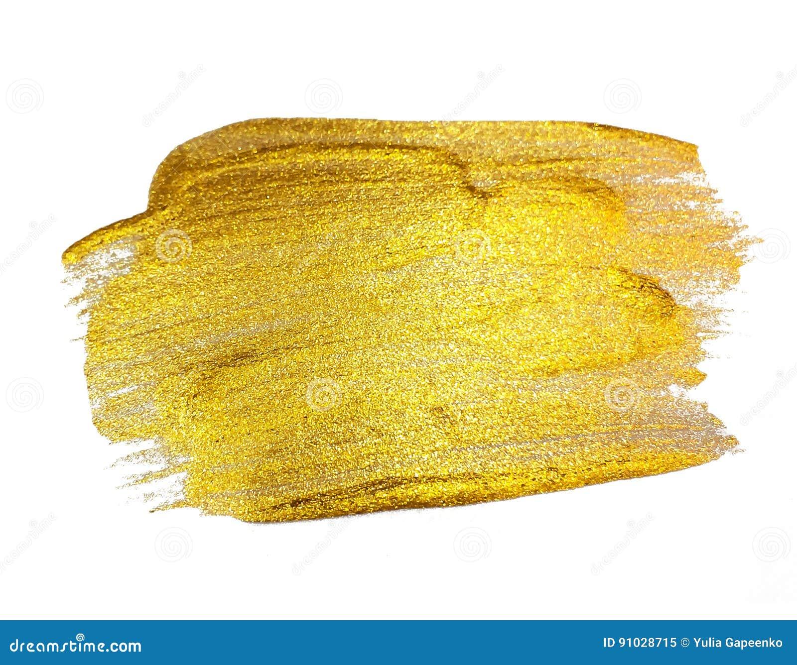 Guld- målarfärg som blänker texturerade Art Isolated på vit