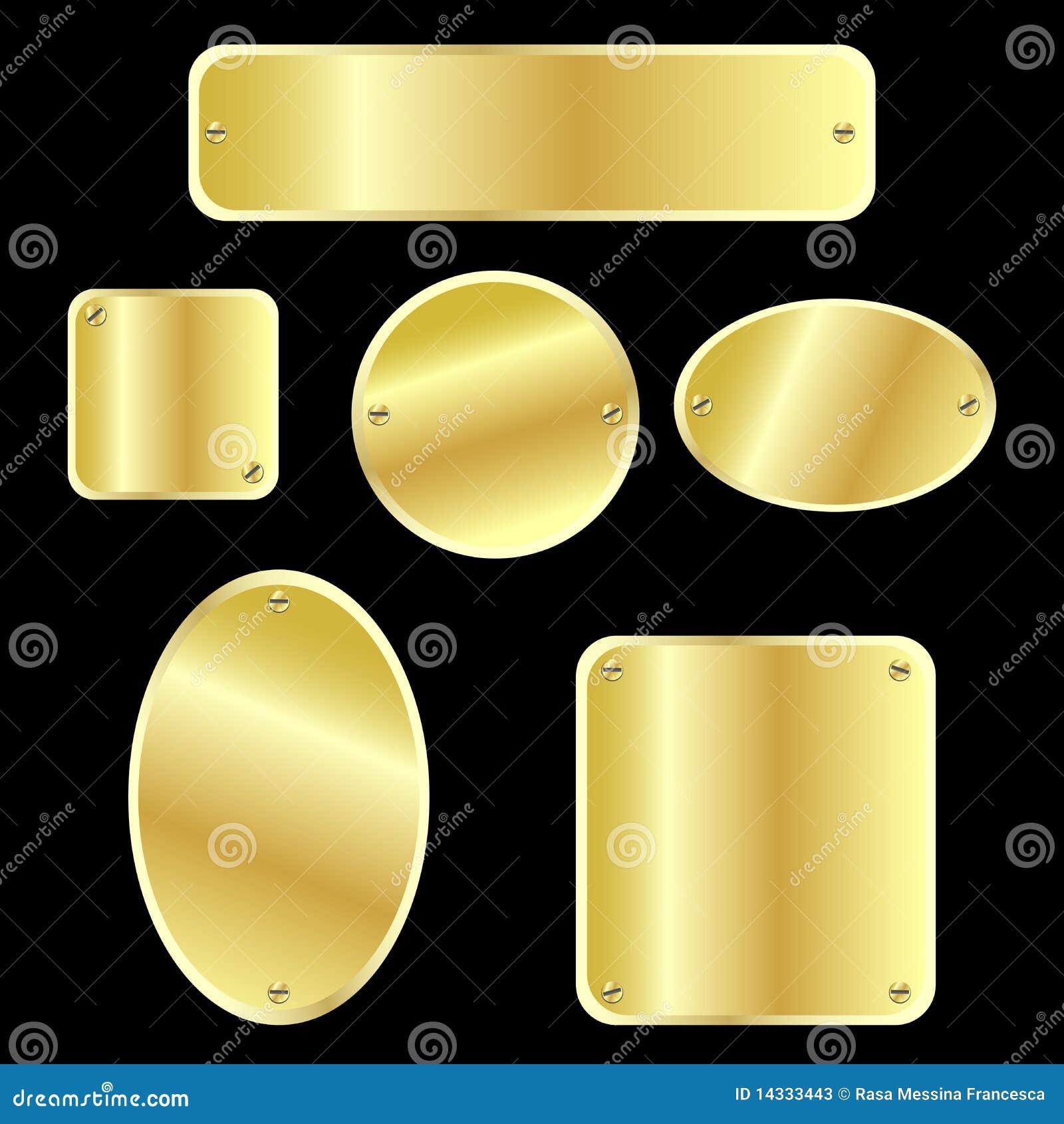 Guld- metalliska etiketter