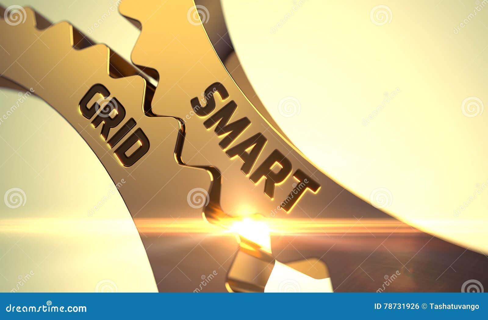 Guld- metalliska kuggekugghjul med smart rasterbegrepp 3d