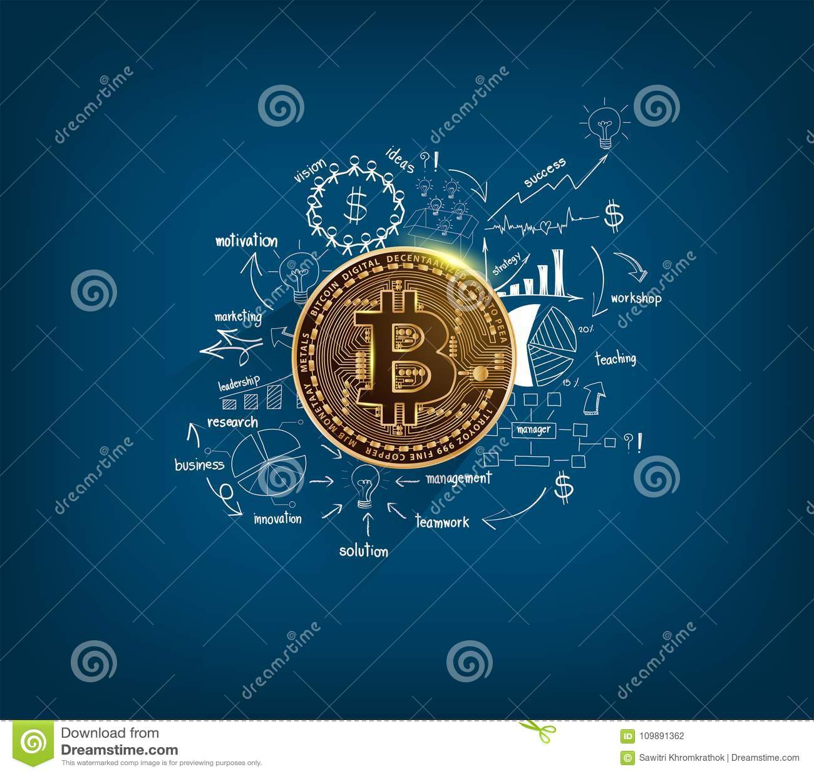 Guld- mynt Bitcoin för digital valuta på teckningsdiagram och grafer