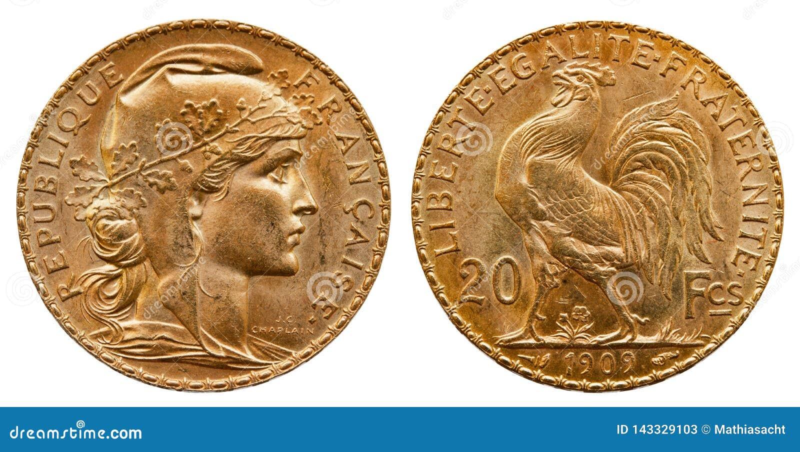 Guld- mynt Frankrike 20 franc 1909