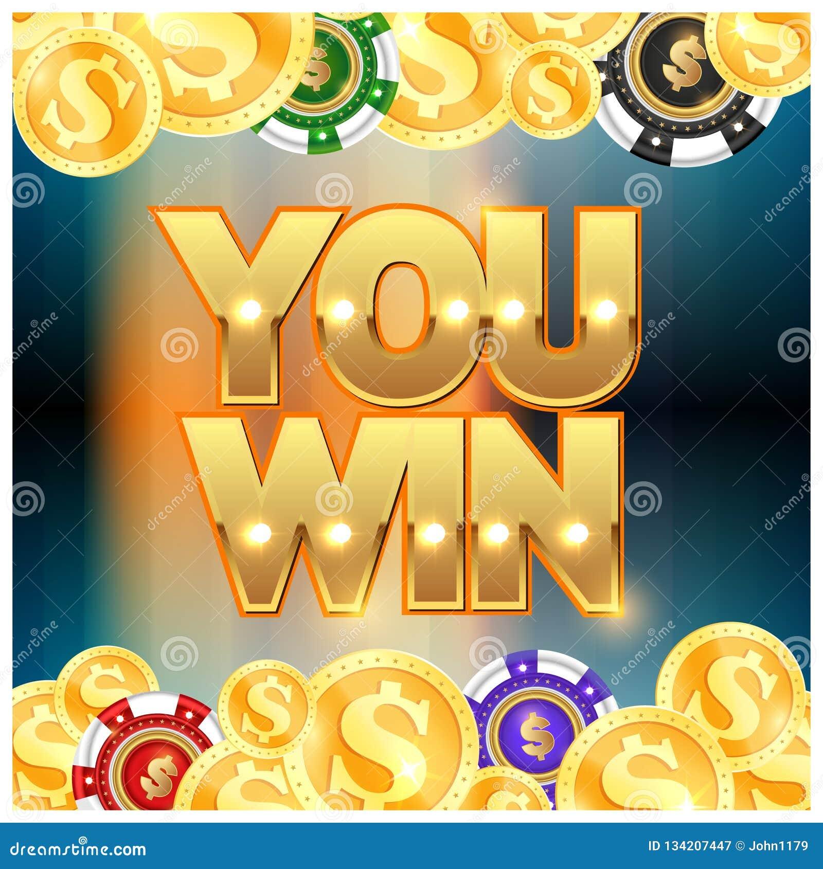 Guld- mynt och chiper som du segrar