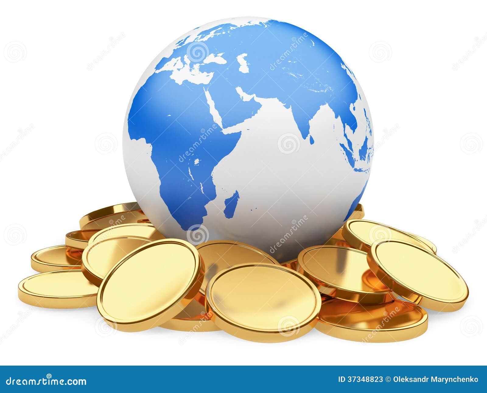 Guld- mynt och jord som isoleras på vit bakgrund