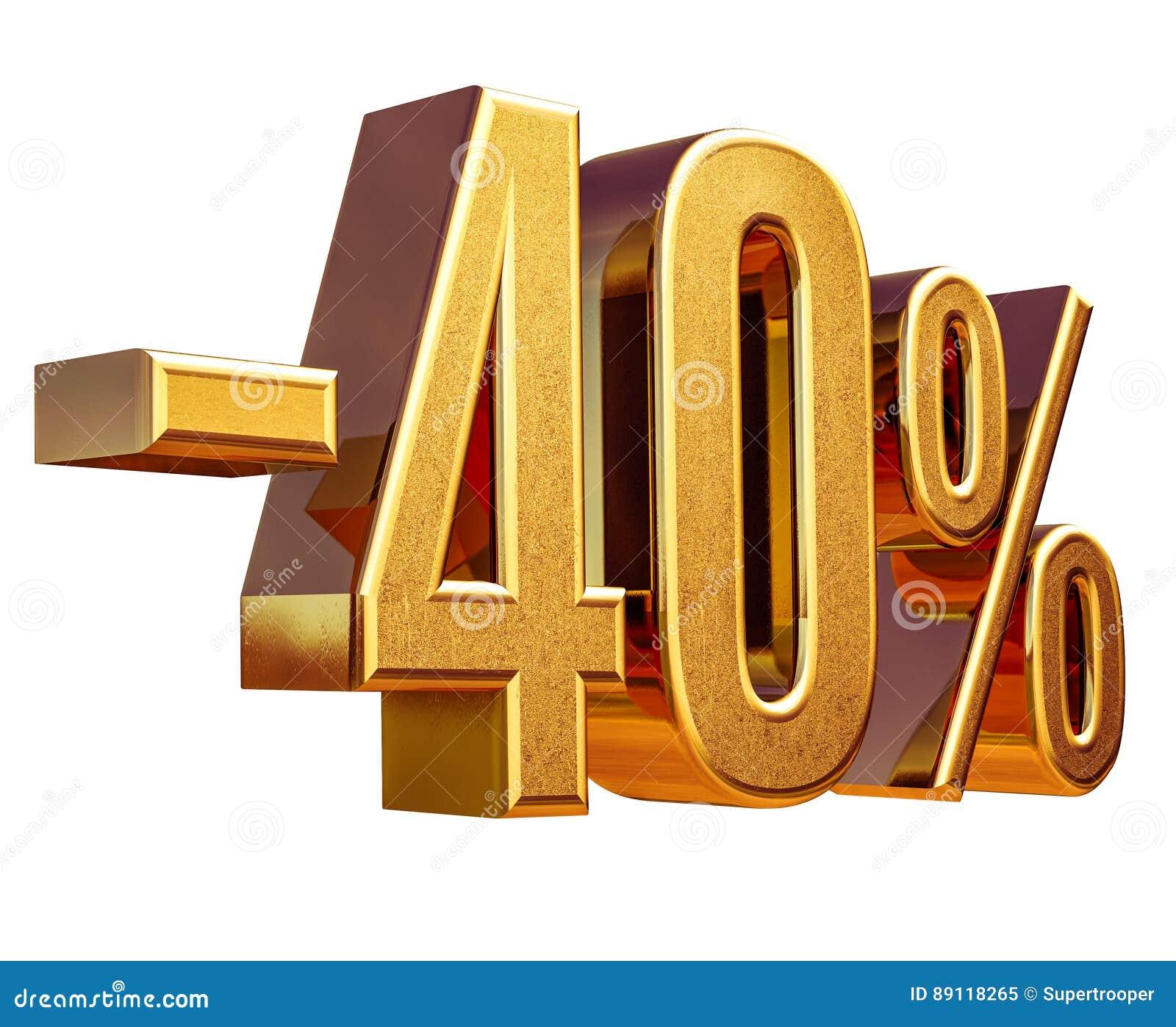 Guld -40 , negativ fyrtio procent rabatttecken