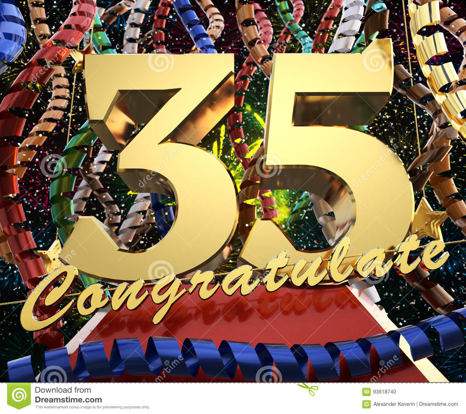 gratulerar på Guld  Nummer Trettiofem Med Ordet Gratulerar På En Bakgrund Av  gratulerar på