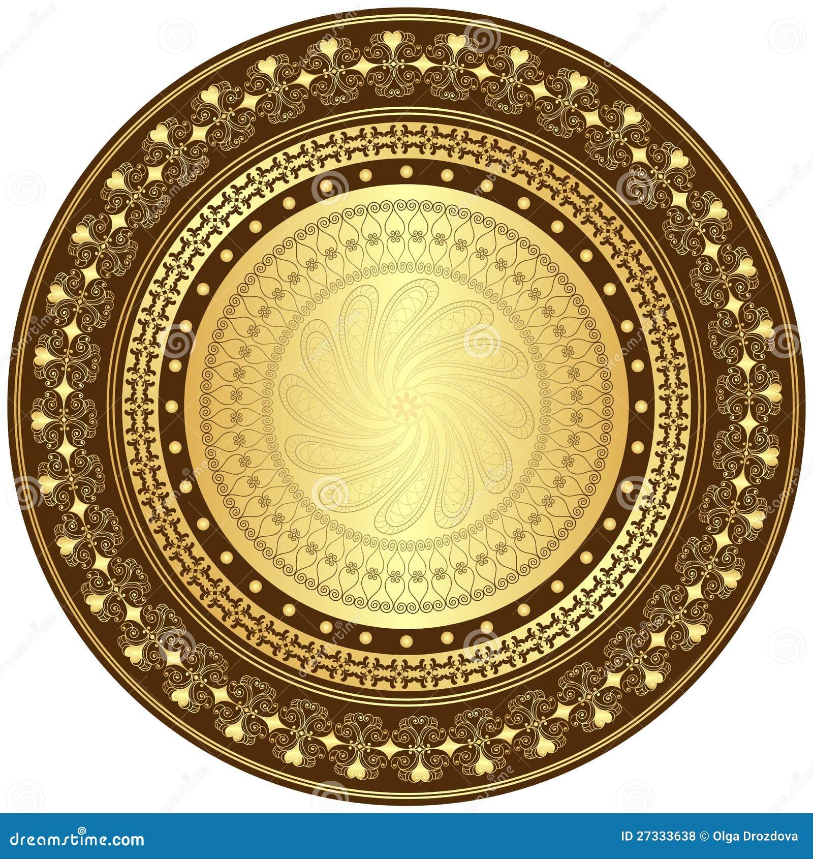 Guld och rund ram för brown