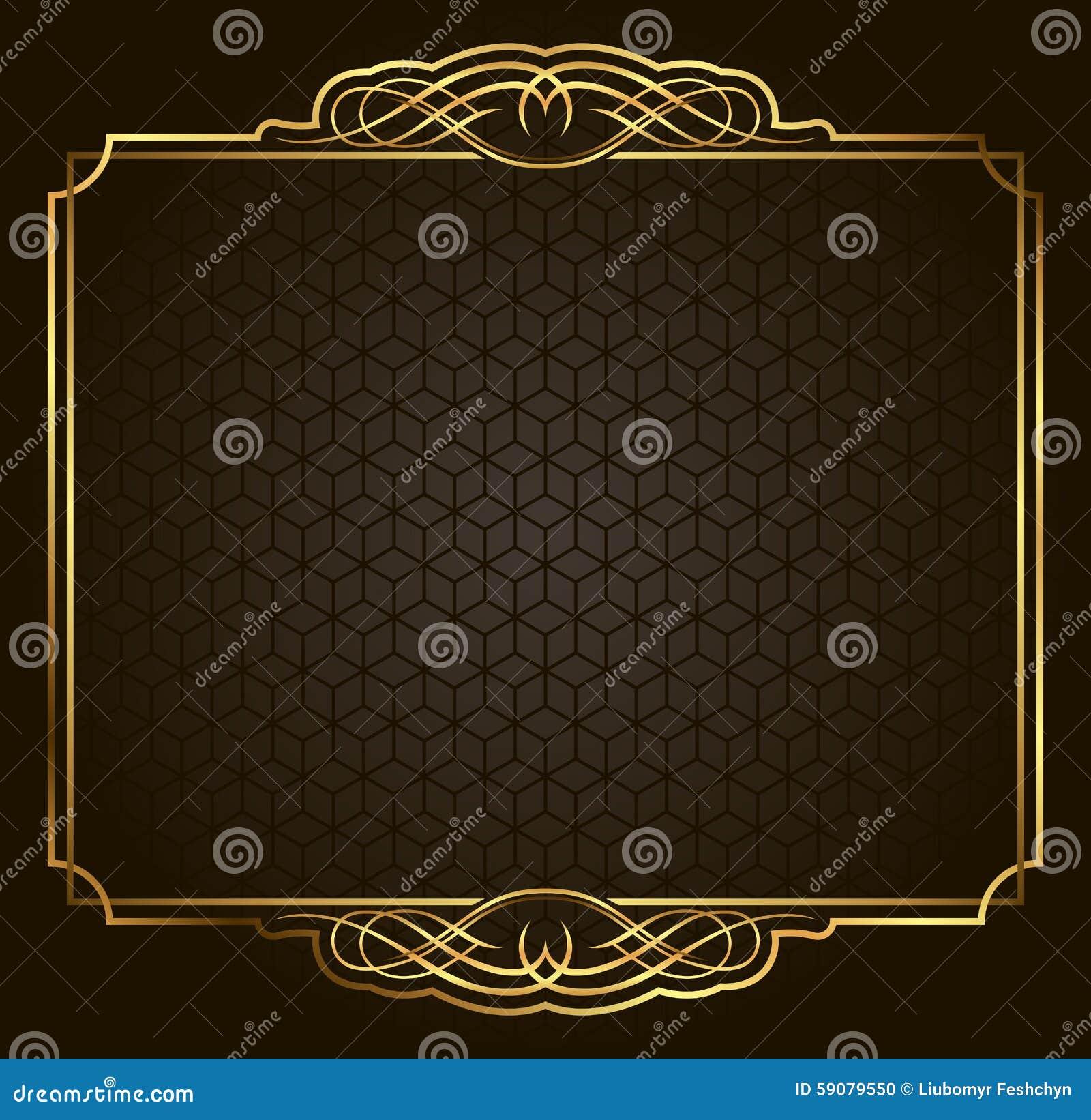 Guld- ram för Calligraphic Retro vektor på mörk bakgrund