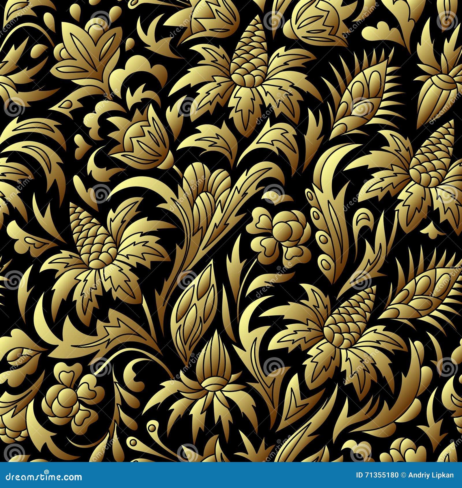 Guld- sömlös modell för vektor, blom- textur