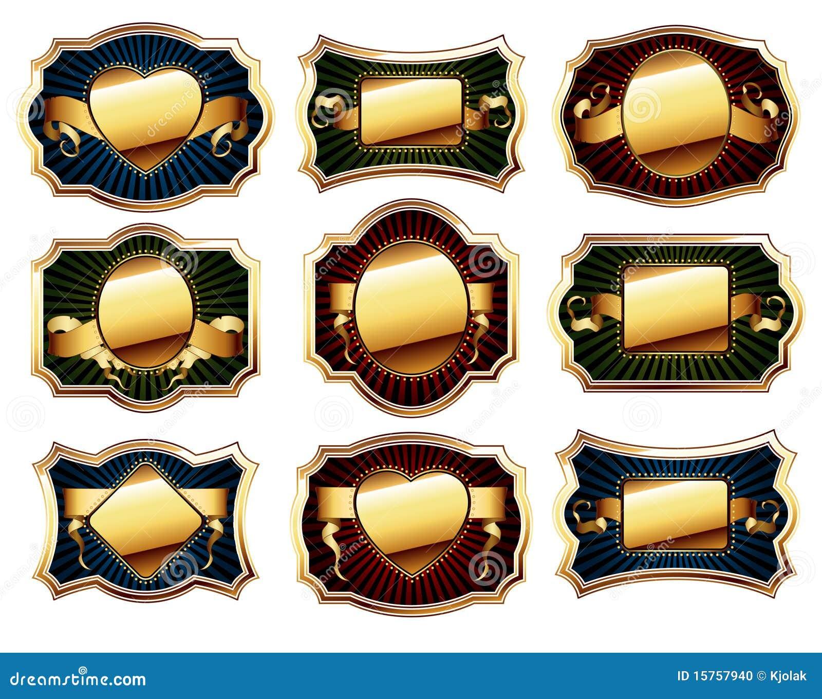 Guld- set för ram