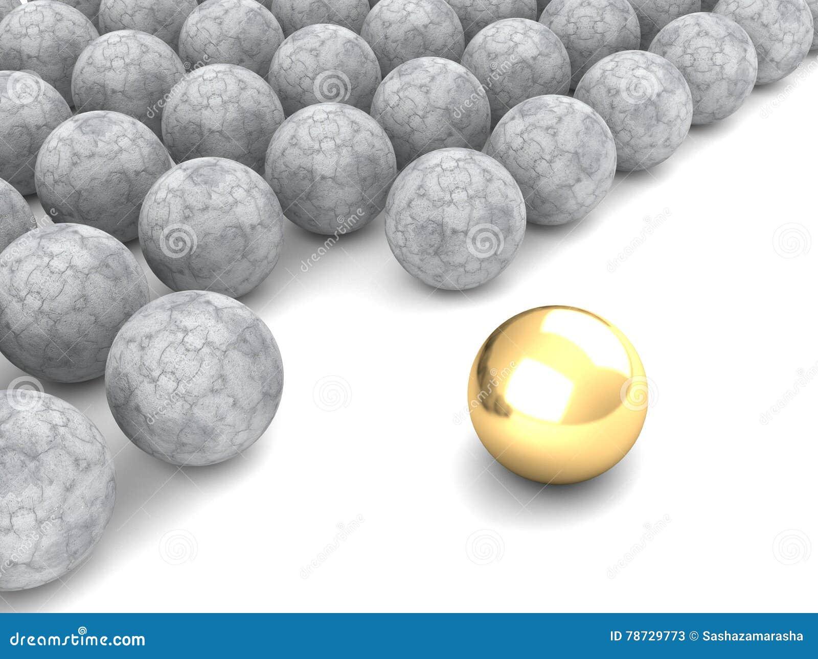 Guld- sfär för begreppsledare affärsidé isolerad framgångswhite