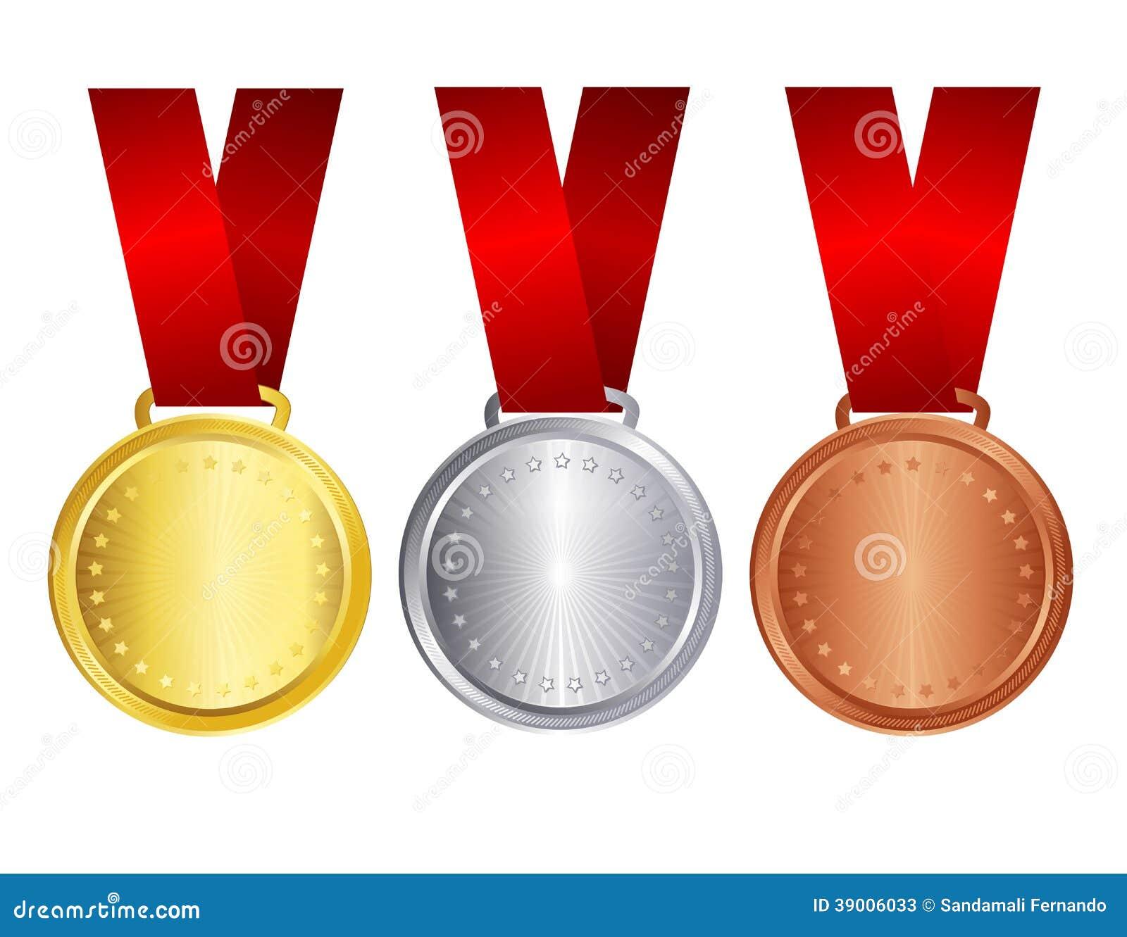 Guld- silver och bronsmedalj med det röda bandet