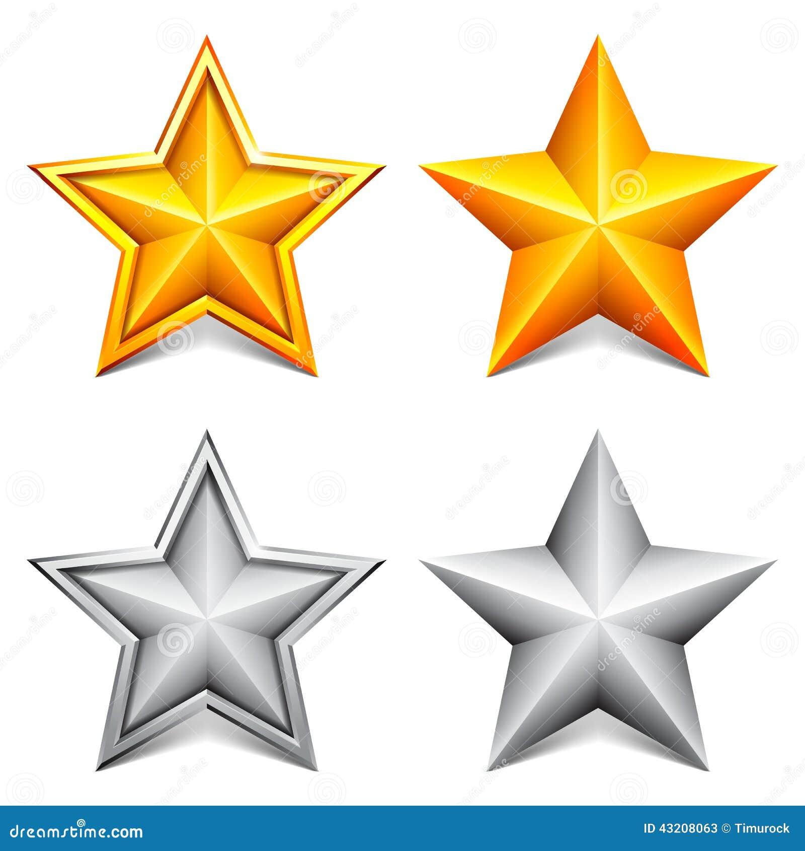 Download Guld- silverstjärnor vektor illustrationer. Illustration av stjärna - 43208063