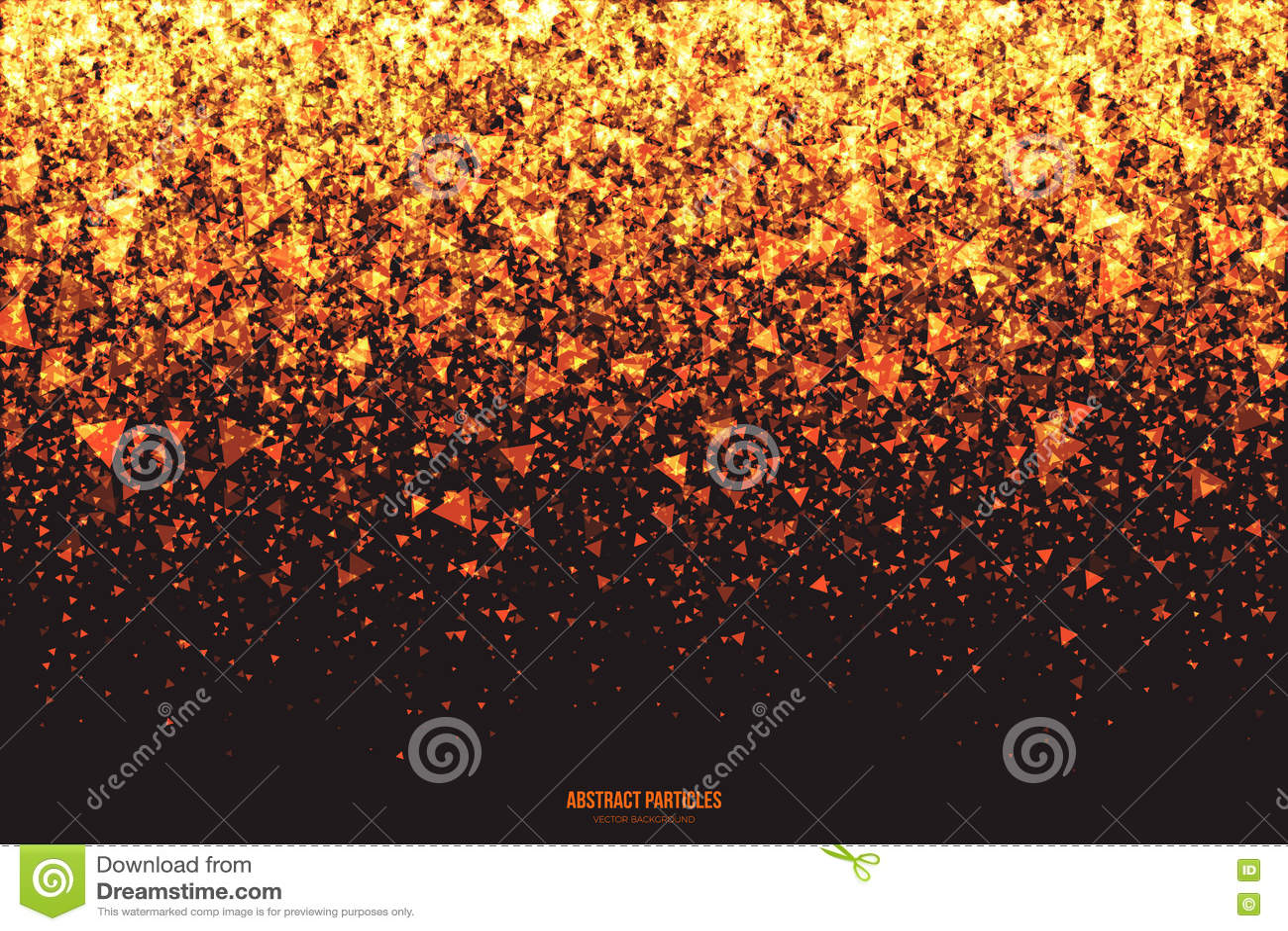 Guld- skimra glödande triangulär partikelvektorbakgrund