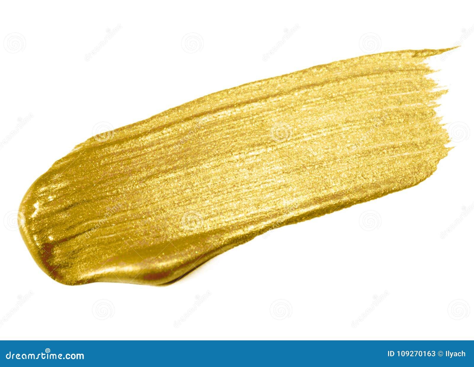 Guld- slaglängd för sudd för målarfärgborste Guld- färgfläck för akryl på vit bakgrund Abstrakt guld som blänker texturerad glans