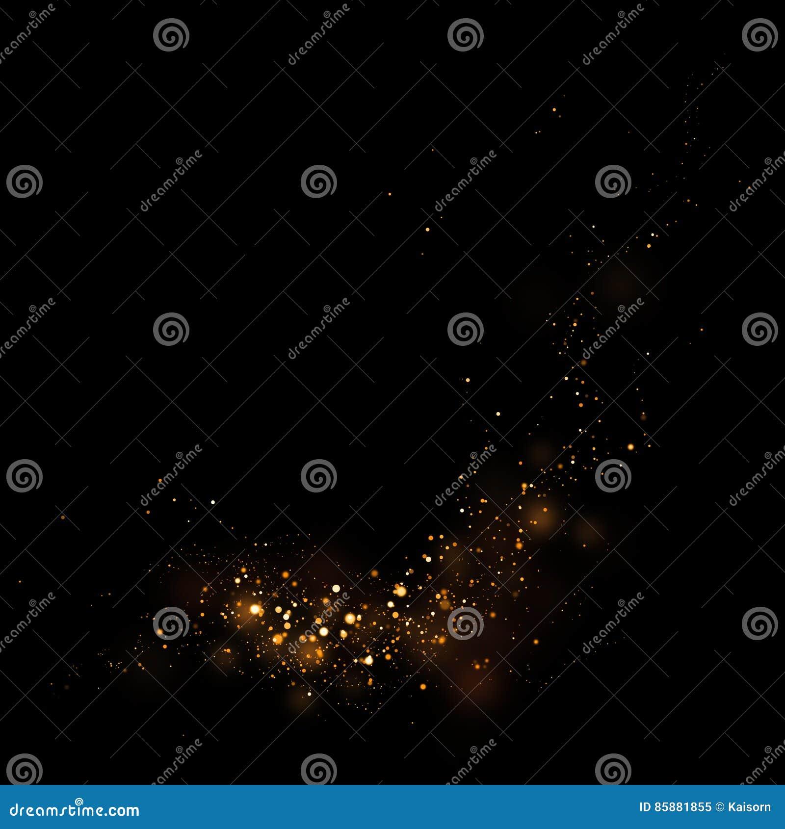 Guld som blänker stjärnaljus och bokeh Magisk dammabstrakt begreppbackgro
