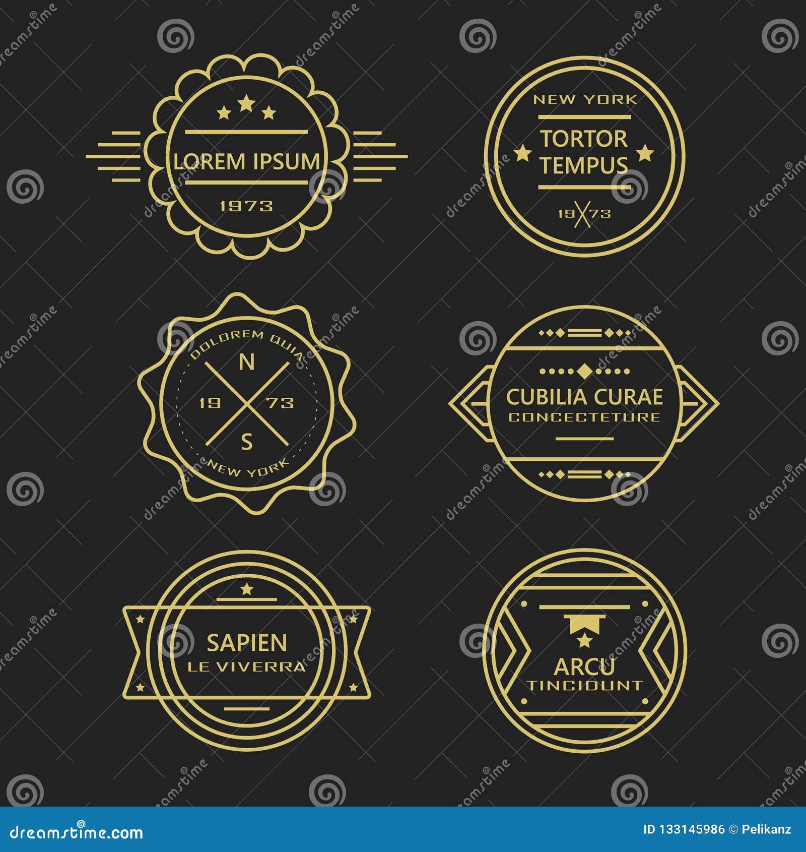 Guld- som linjen retro emblem- och etikettsamling för tappning på svart